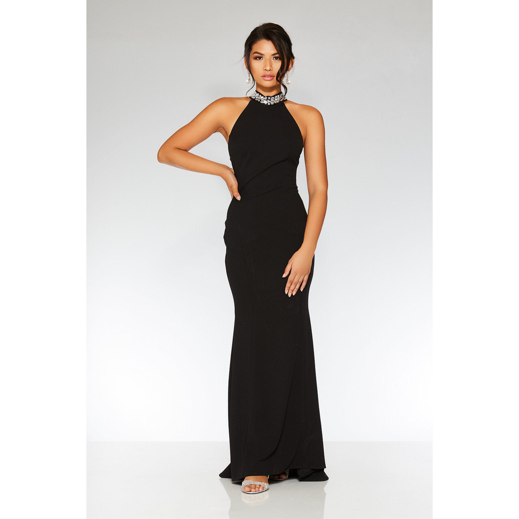 5df104885cfe Quiz Black Embellished Back Fishtail Maxi Dress in Black - Lyst