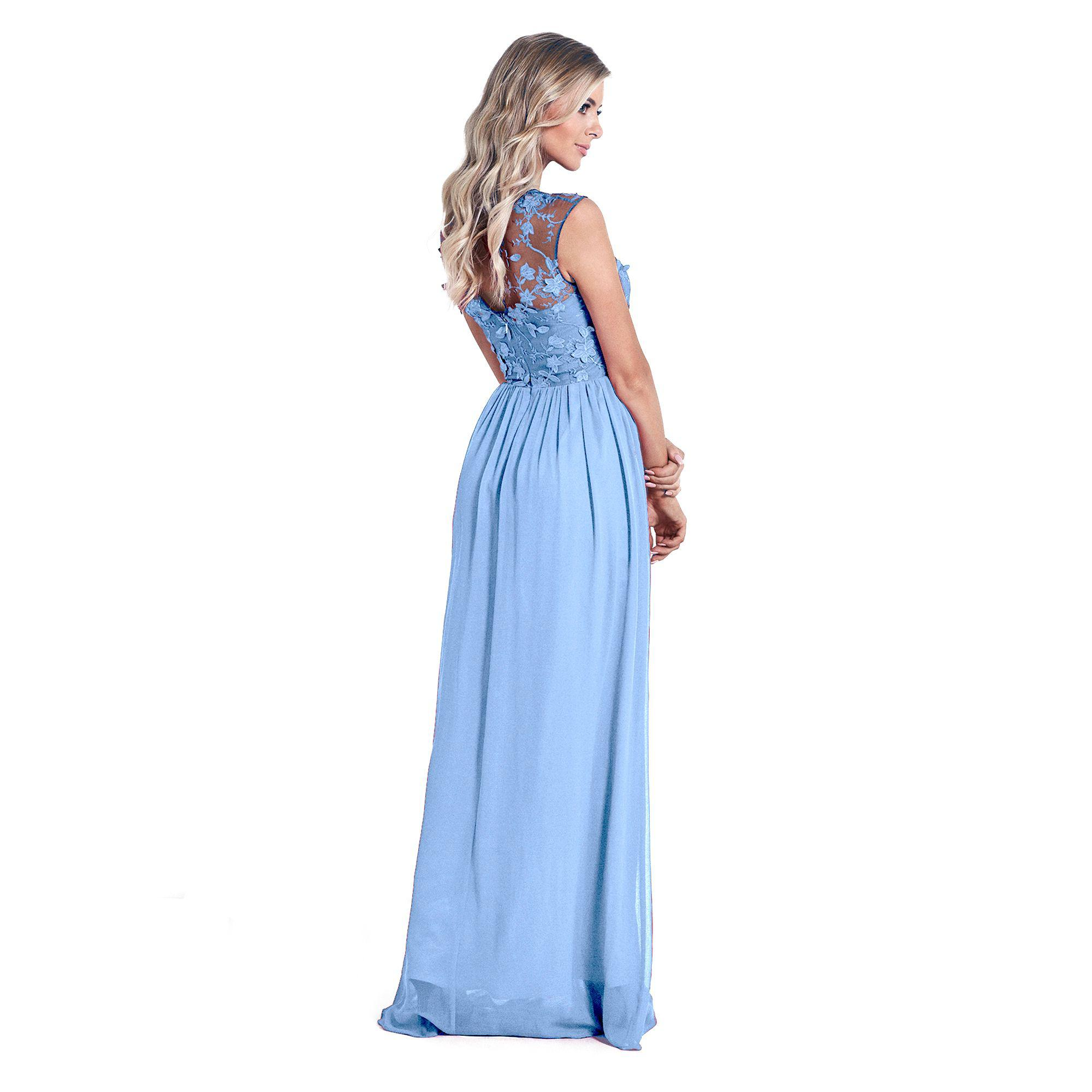 Lipstick Boutique Powder Blue 'beverley' Lace Bridesmaid Maxi Dress
