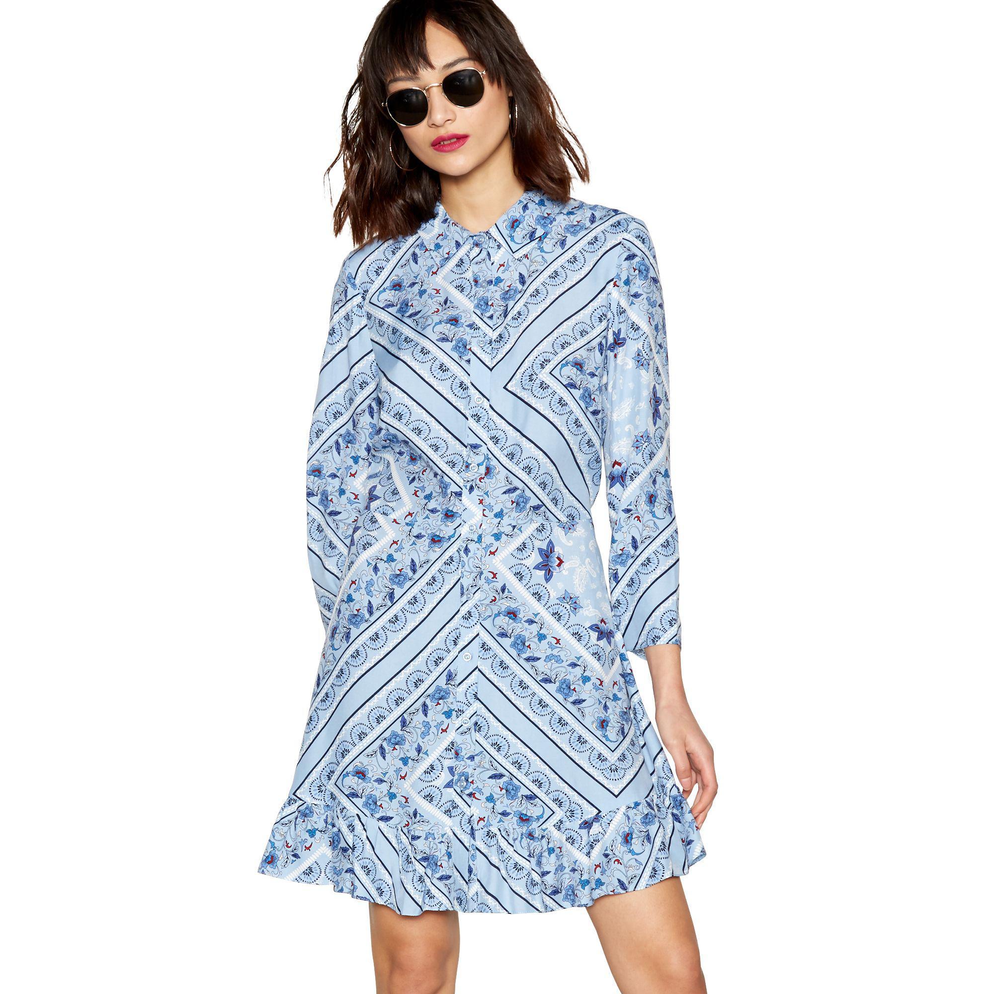 93a2bdad210c69 Red Herring Blue Scarf Print Long Sleeve Ruffle Shirt Dress in Blue ...