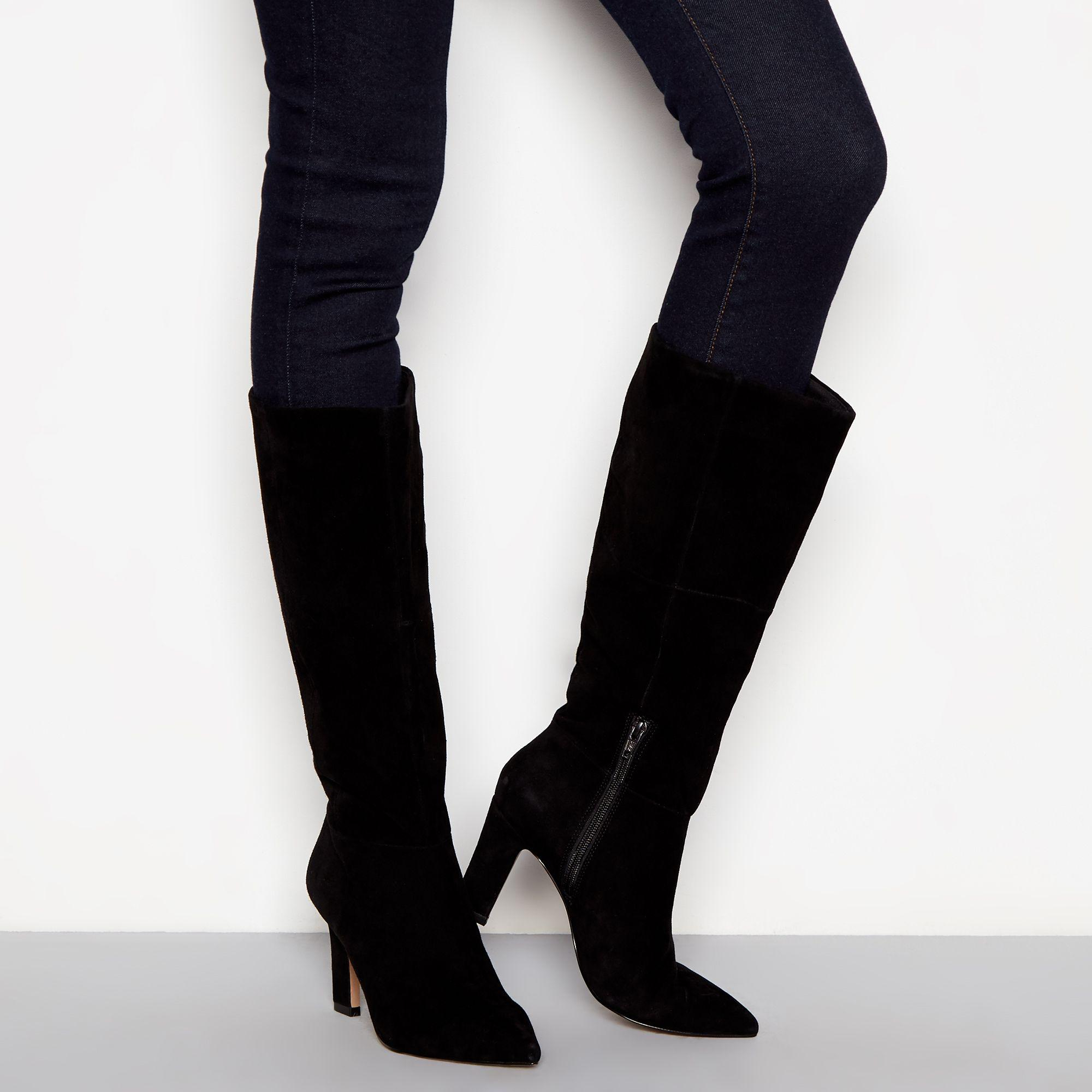 8d18929c3db J By Jasper Conran Black Suede Slim Heel Knee High Boots