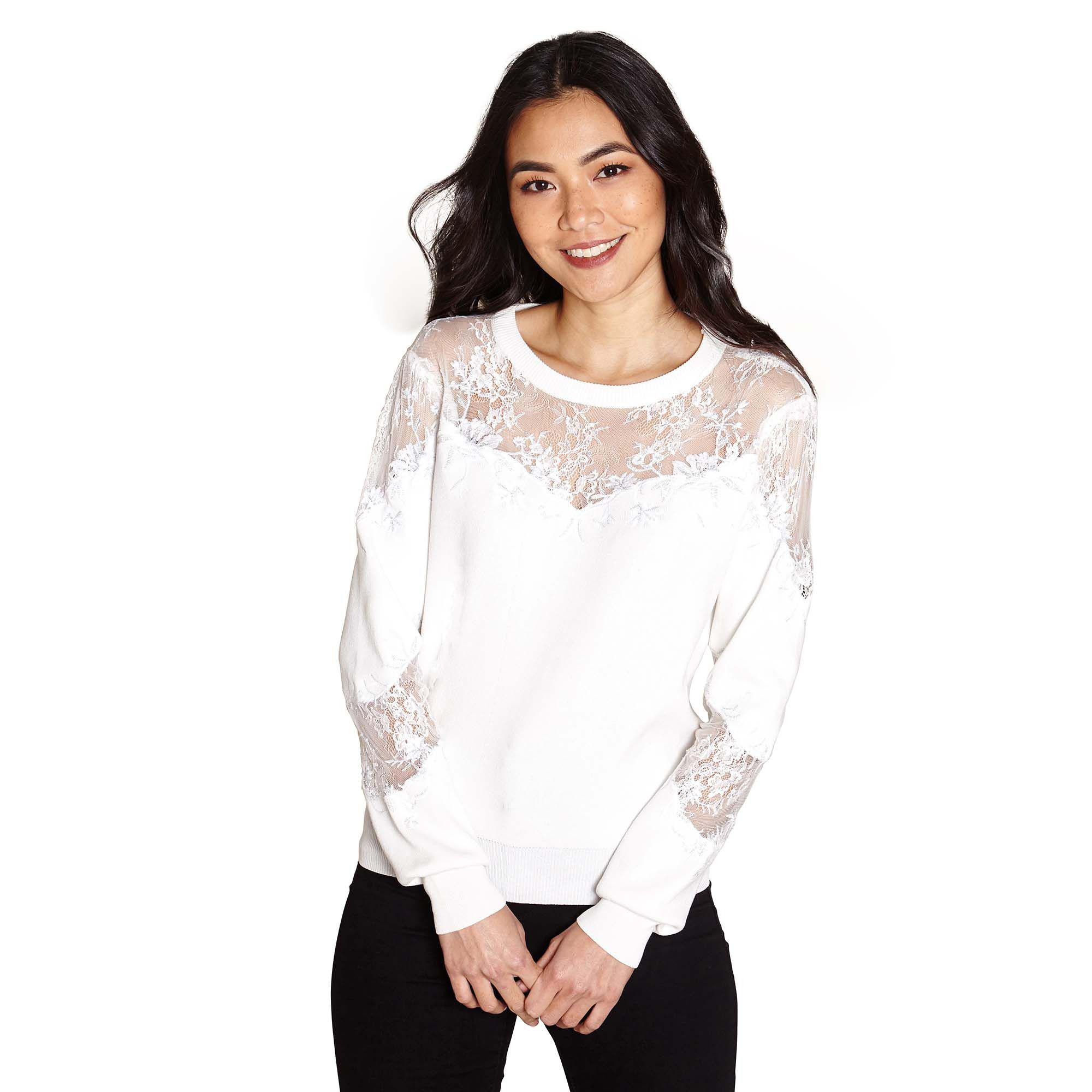 fd2757f3ff Yumi  Ivory Mesh And Lace Insert Jumper in White - Lyst
