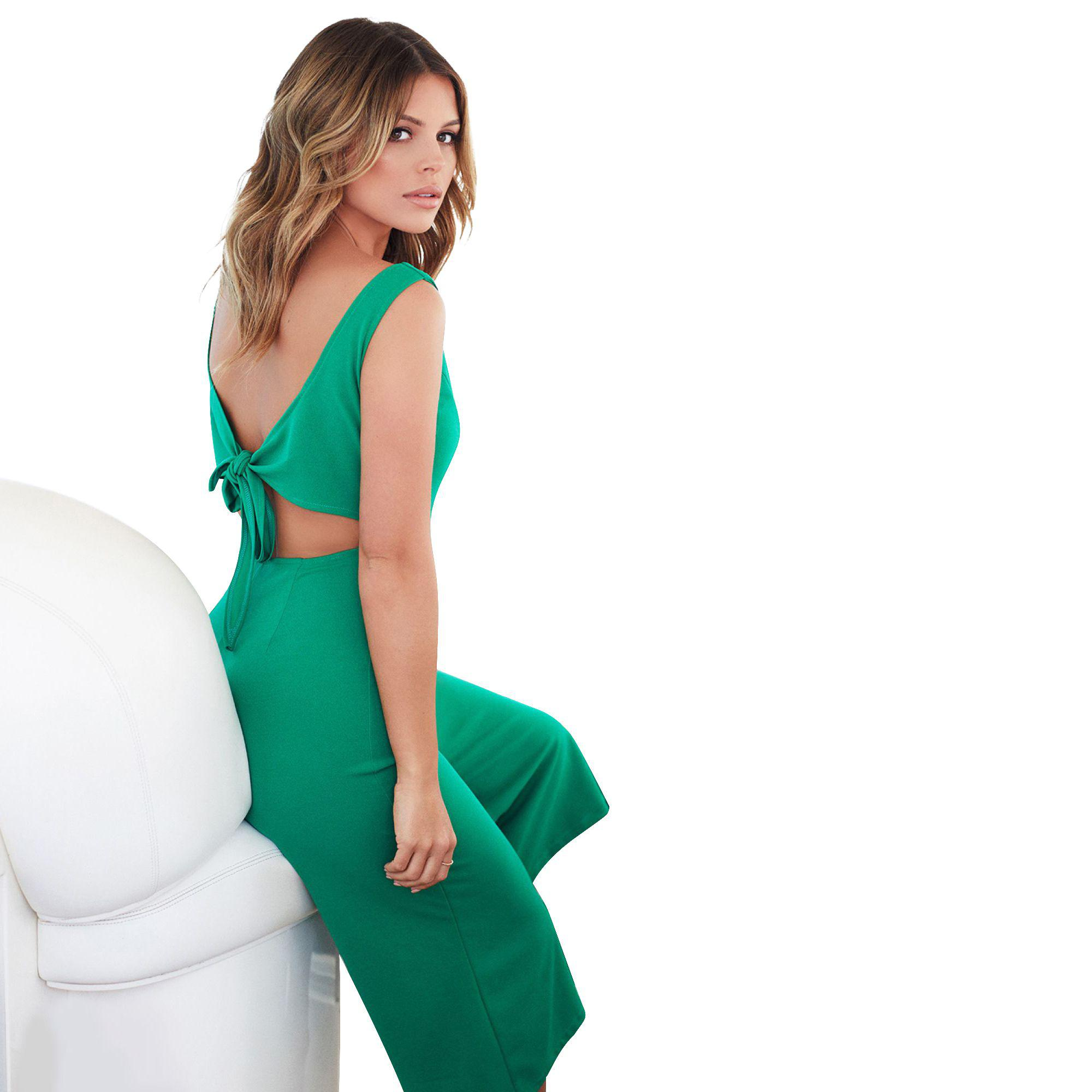 74e0a2cb8d Quiz Towie Green Button Culotte Jumpsuit in Green - Lyst