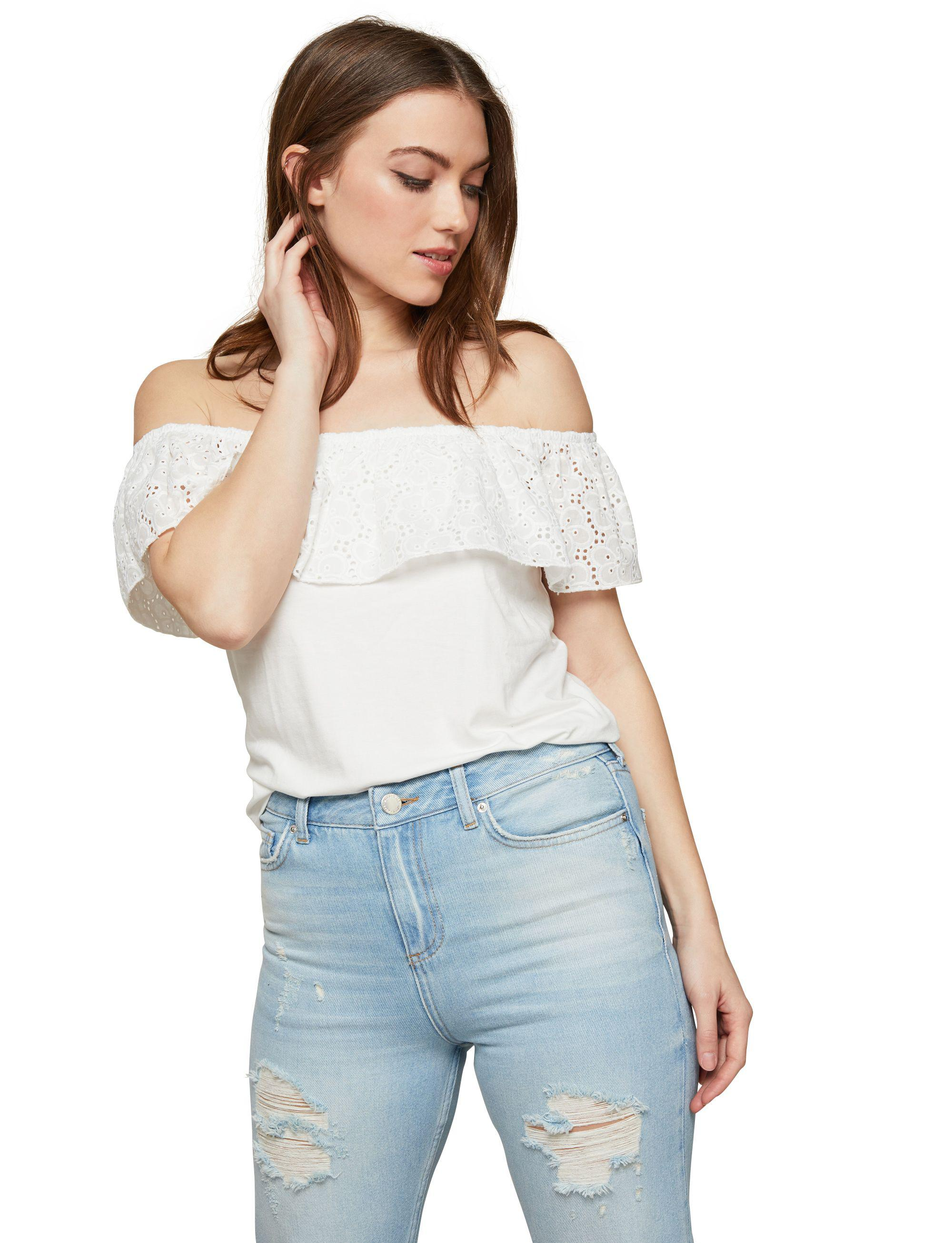 Miss Selfridge White Broderie Bardot Top in White - Lyst a31c43d08