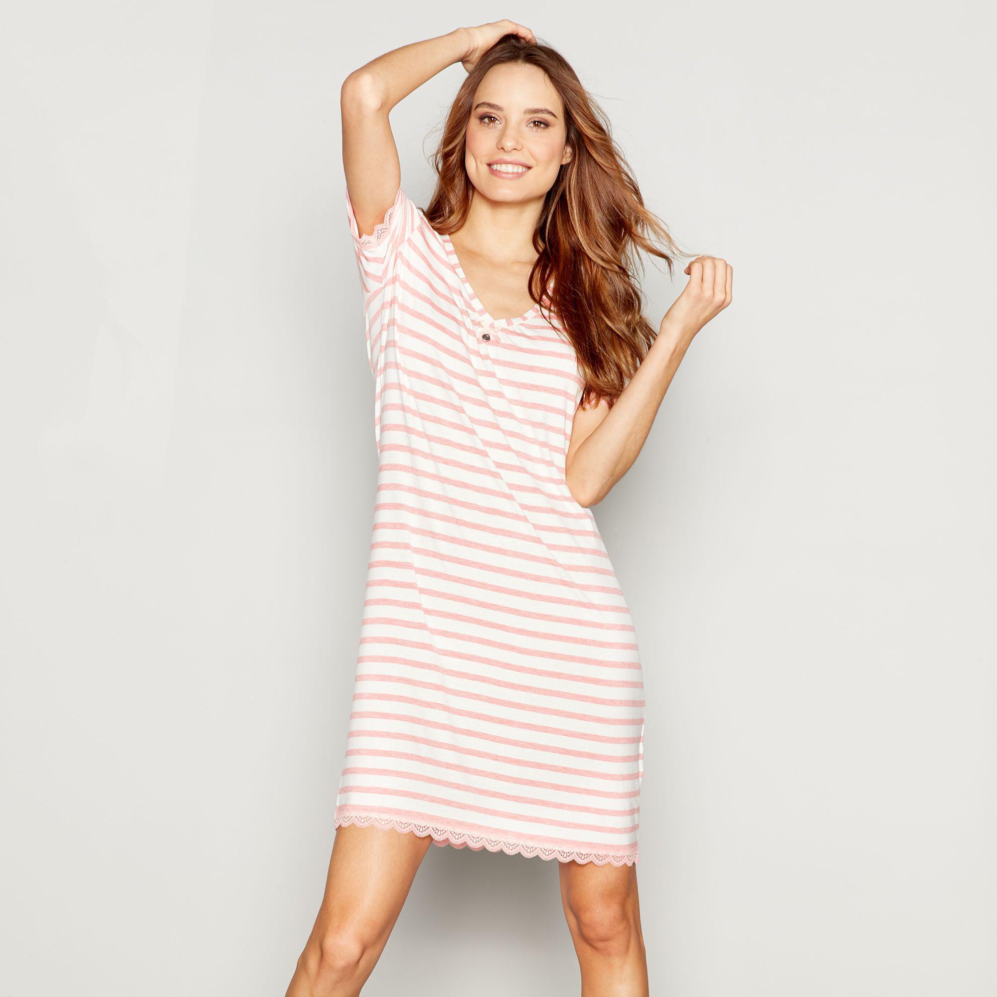5d89eff4ee6 J By Jasper Conran Pink Stripe Print Jersey  nomad  Nightdress in ...