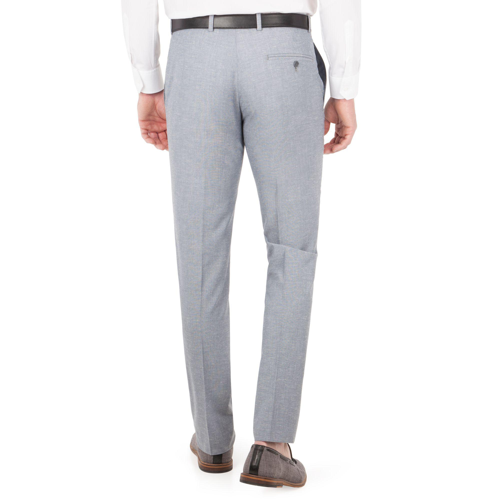 Red Herring Light Blue Linen Slim Fit Trousers for Men