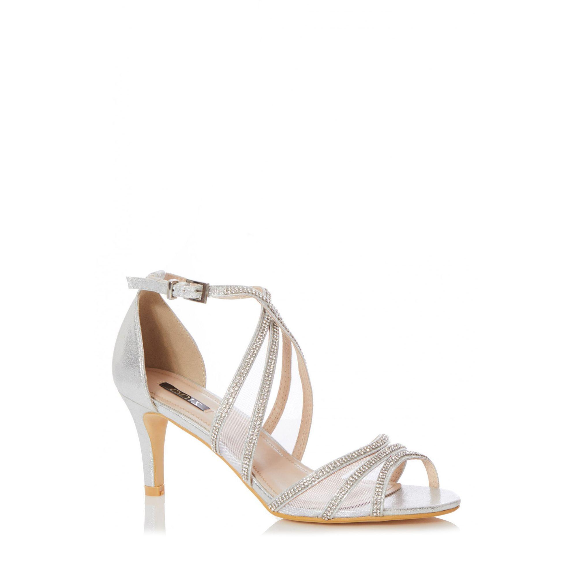 e9ba2757b6 Quiz Silver Shimmer Diamante Low Heel Sandals in Metallic - Lyst