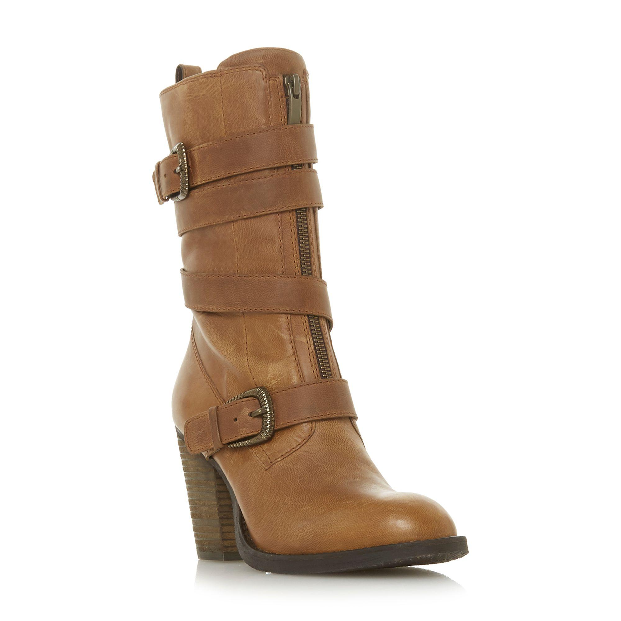 2e9d146e25f Steve Madden Yens Sm Double Buckle Wrap Around Strap Boots in Brown ...