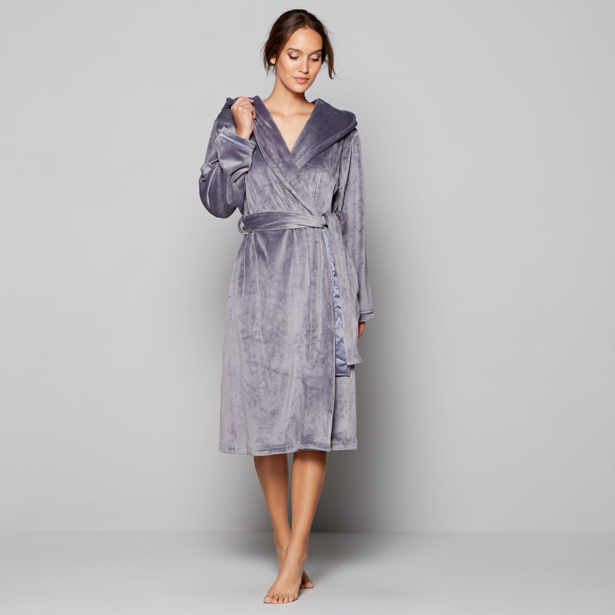 Ted Baker Grey Hooded Dressing Gown In Gray Lyst