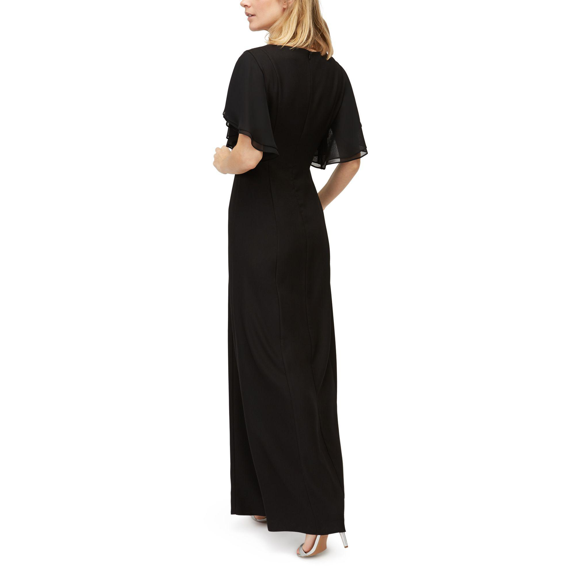 Jacques Vert Crepe Angel Sleeve Maxi Dress in Black