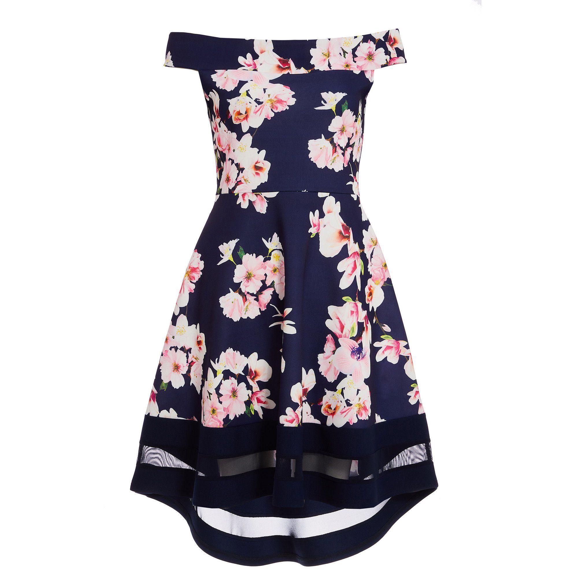 a7f4b8d85095 Quiz Navy Pink And Cream Floral Bardot Dip Hem Dress in Blue - Lyst