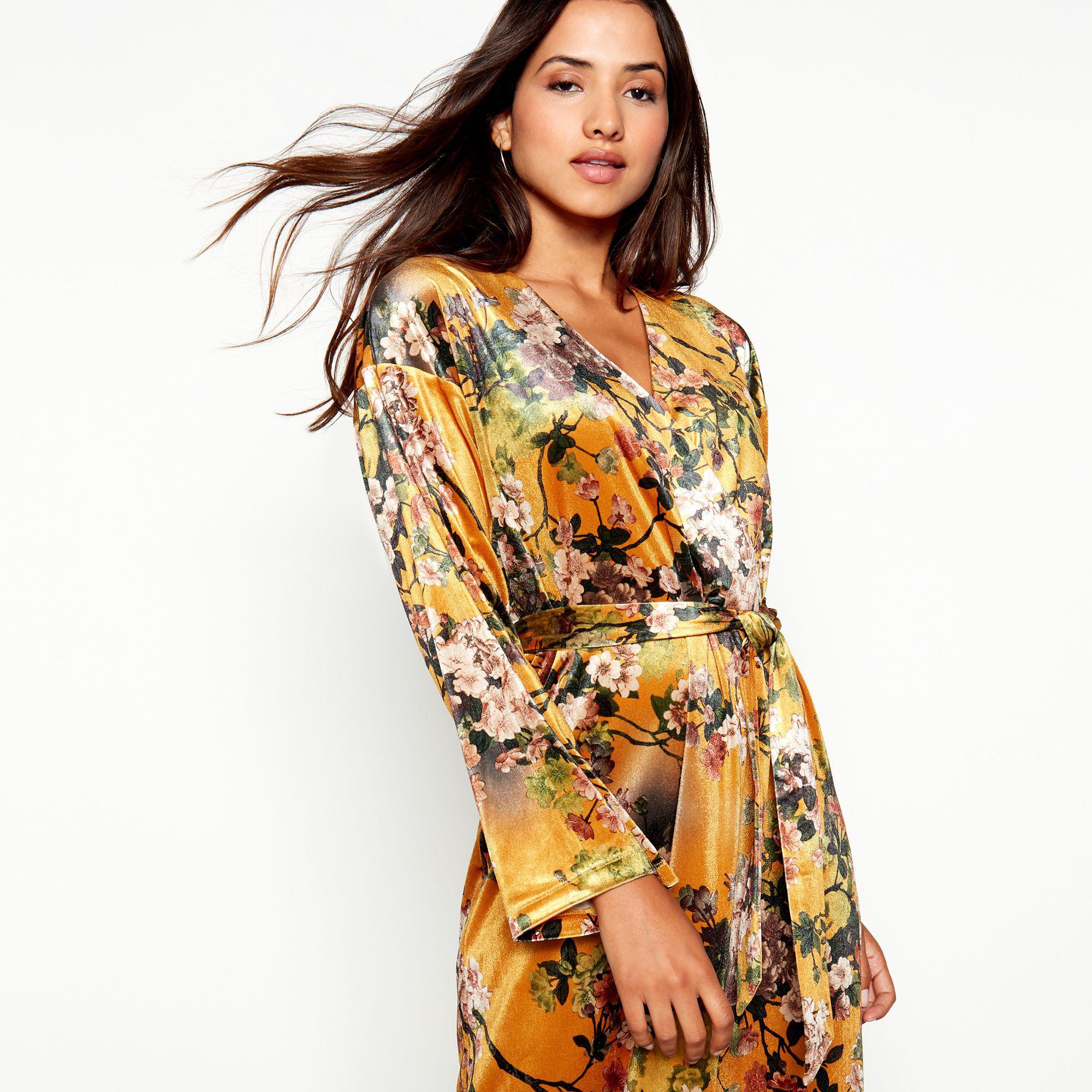 ad355dacba9 Vila Mustard Floral Print Velvet V-neck Long Sleeve Midi Wrap Dress ...