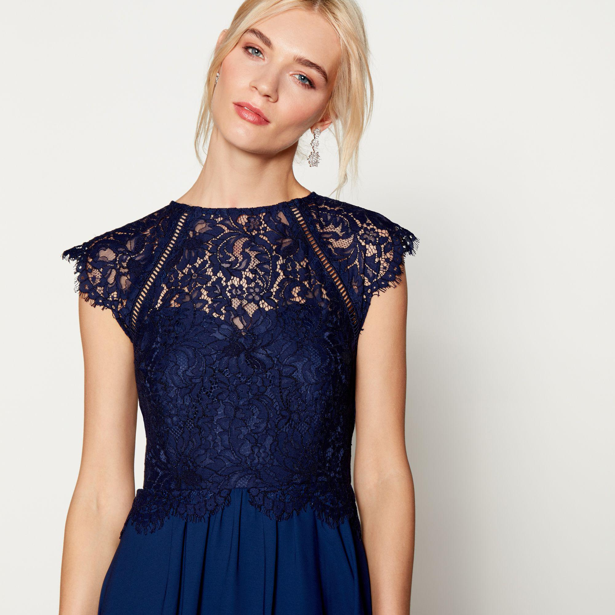 af723044d807 Début Navy Chiffon Lace 'olivia' High Neck Midi Bridesmaid Dress in ...