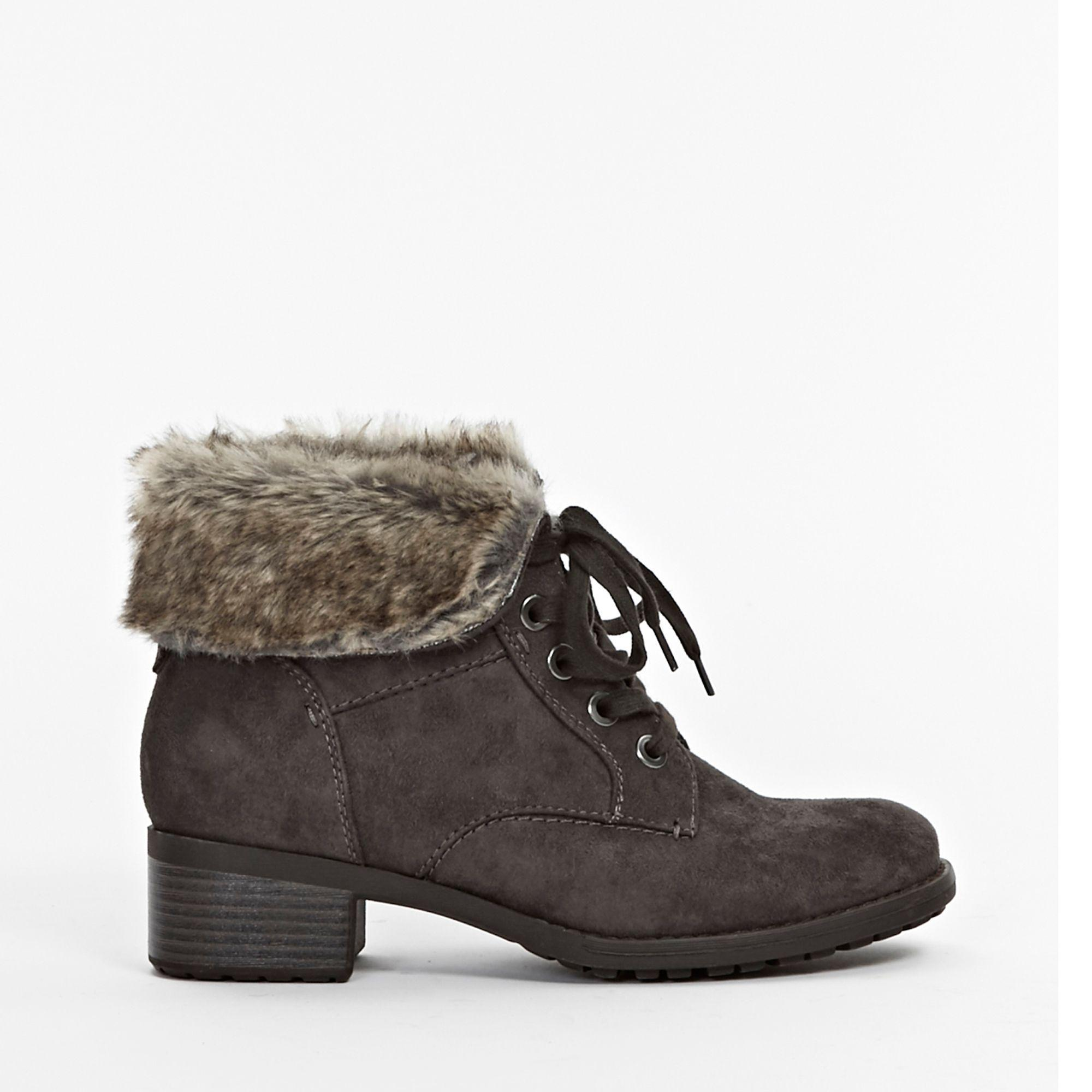 76e02b66961 Evans Wide Fit Grey Cuff Lace Up Ankle Boots in Gray - Save 79% - Lyst