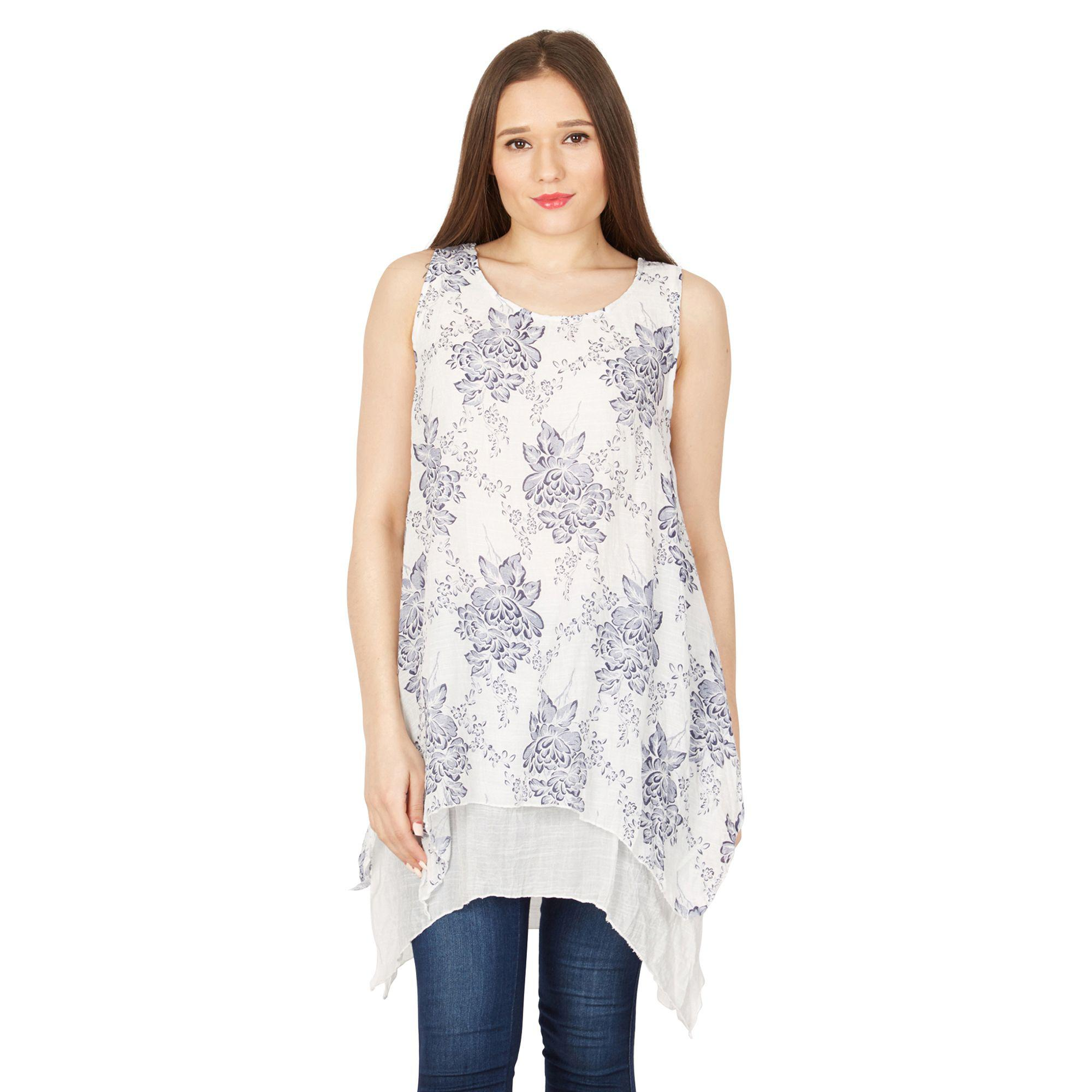 8ea6d6afccd Izabel London Multicoloured Foliage Dual Layer Tunic in White - Lyst