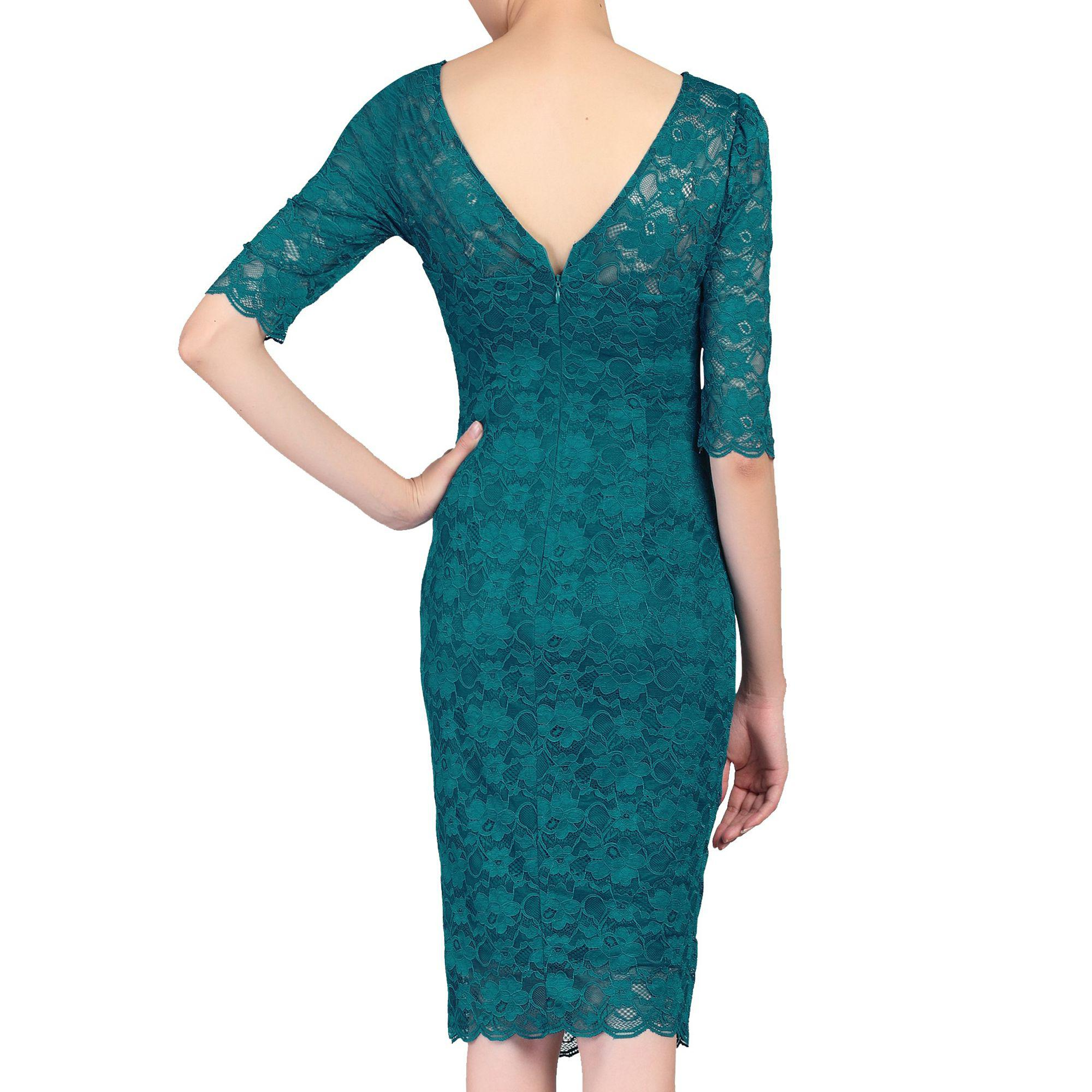 d95eb4f497a Jolie Moi - Blue Dark Turquoise 3 4 Sleeves V Neck Ruched Lace Dress -.  View fullscreen