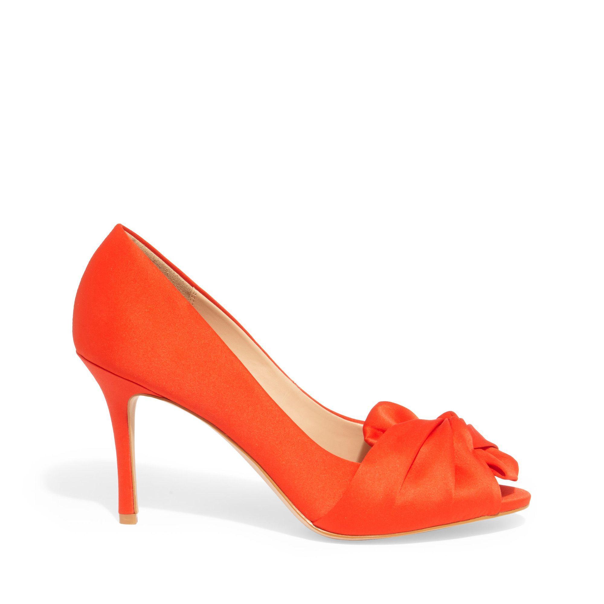 d497a080da Phase Eight Orange Alice Satin Bow Peep Toe Shoes in Orange - Lyst