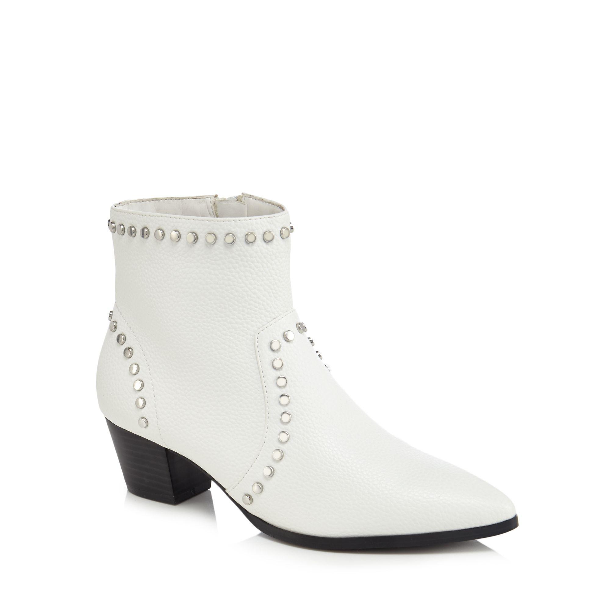 Faith White Studded 'bud' Mid Block Heel Ankle Boots