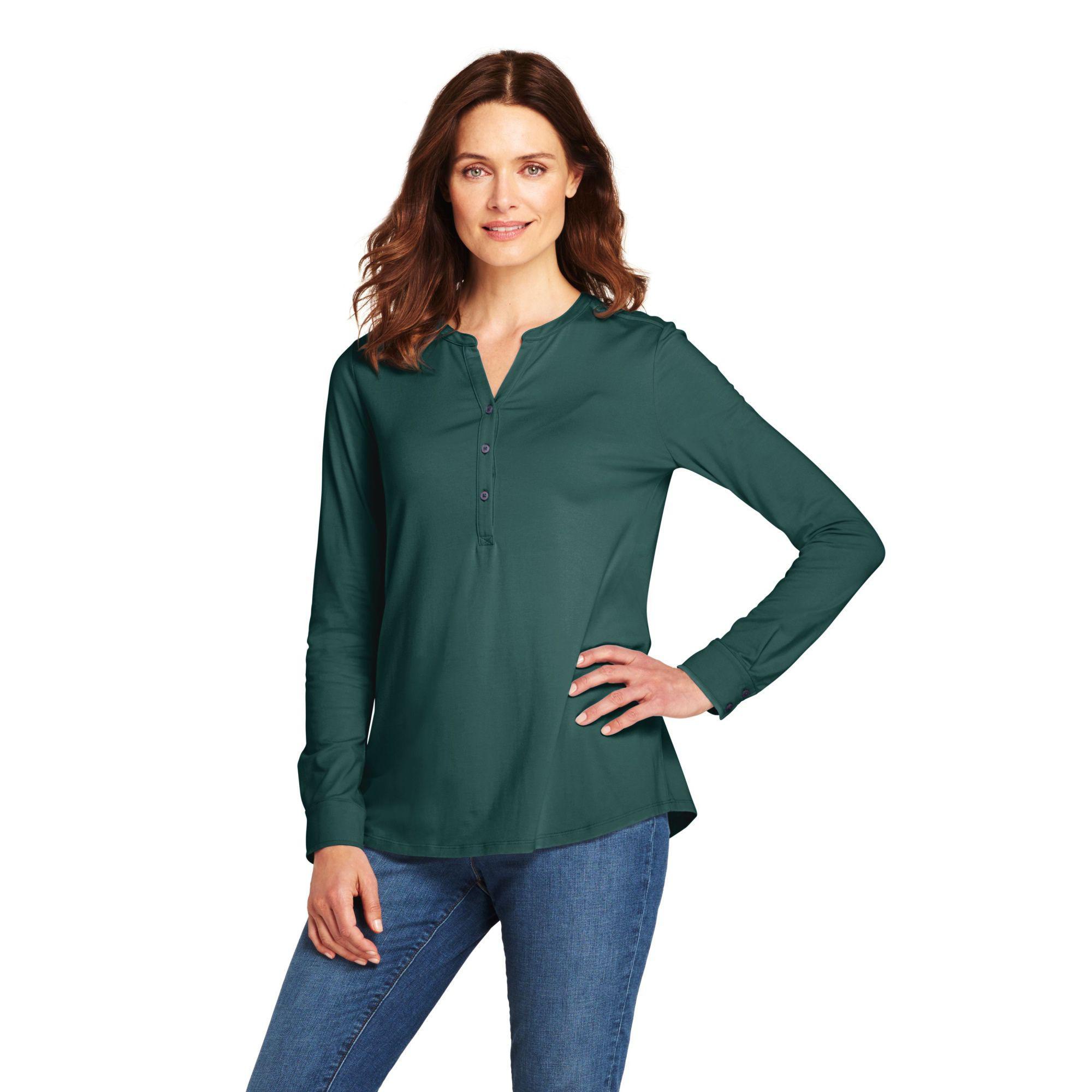 a6de23e6ce3 Lands' End Green Womens Cotton/modal Henley Tunic Top in Green - Lyst