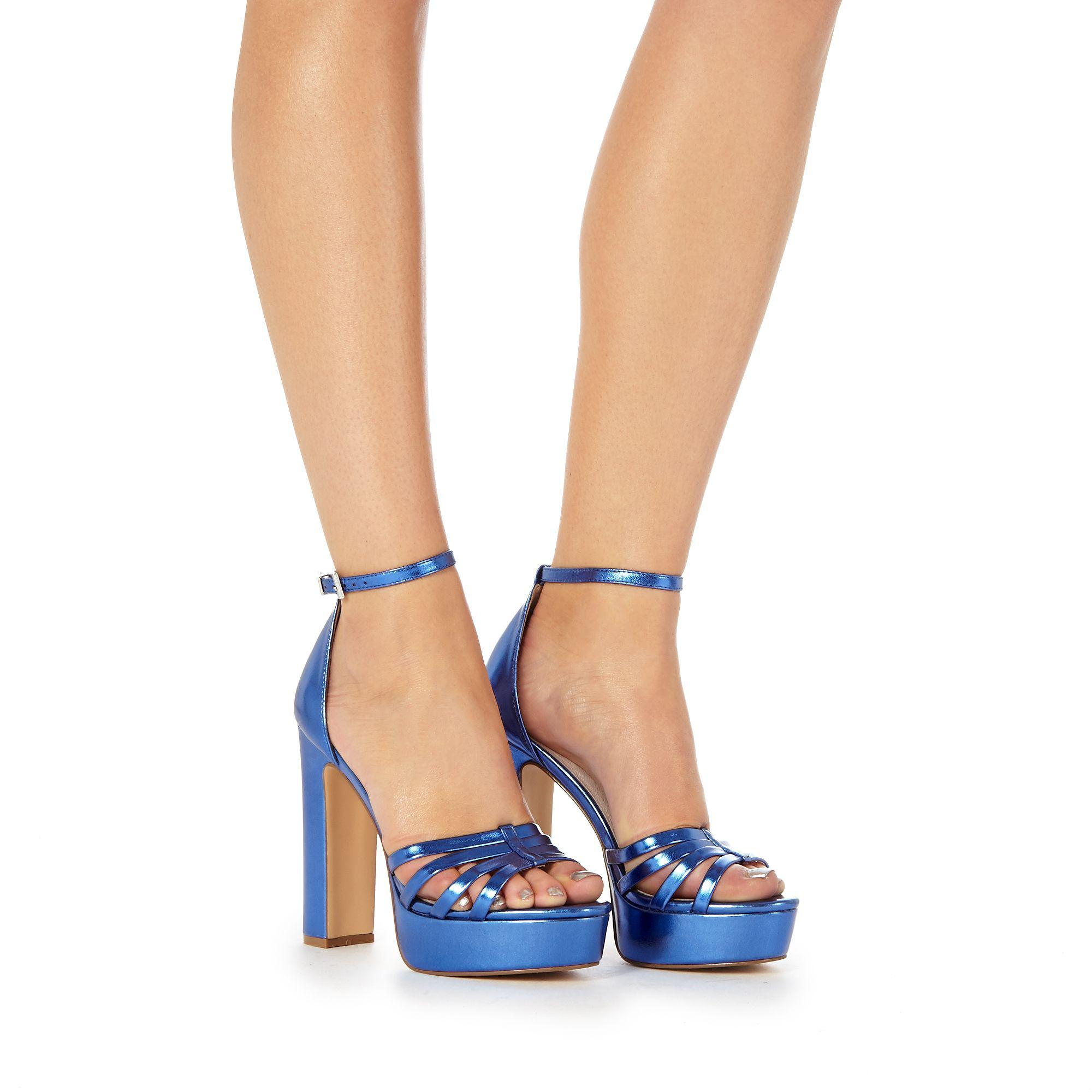 83aba1571e4 Faith Blue  lelly  High Block Heel Ankle Strap Sandals in Blue - Lyst