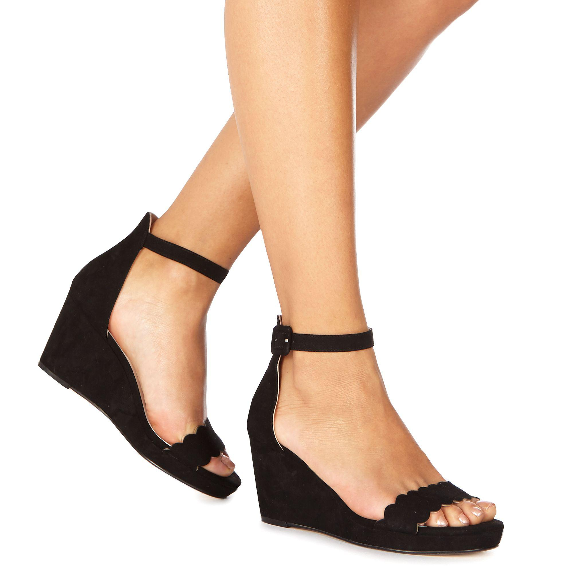 34199842fd8 Faith Black Suedette  dust  Mid Wedge Heel Ankle Strap Sandals in ...