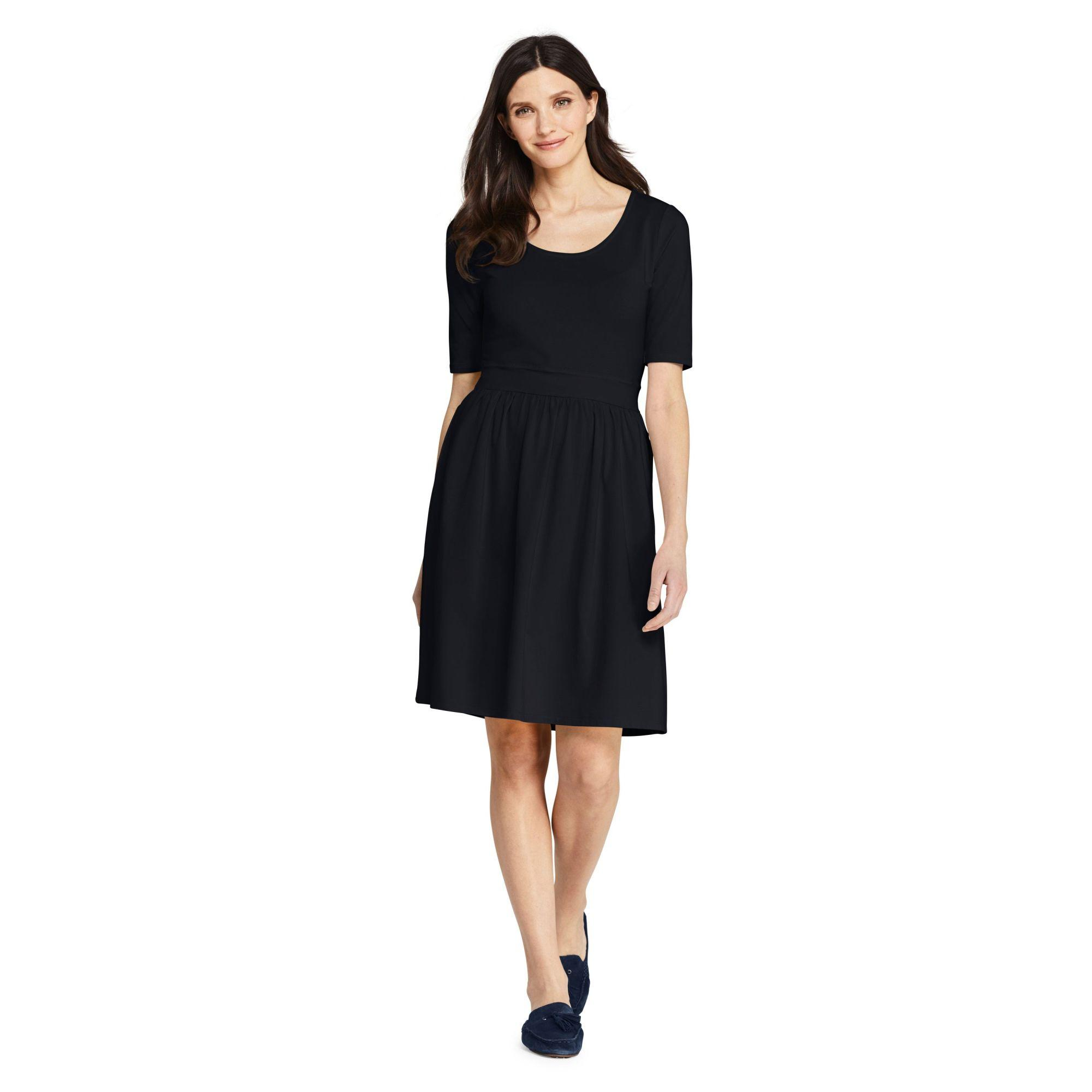 dd2b03d6c9 Lands  End Black Plus Elbow Sleeve Fit And Flare Dress in Black - Lyst