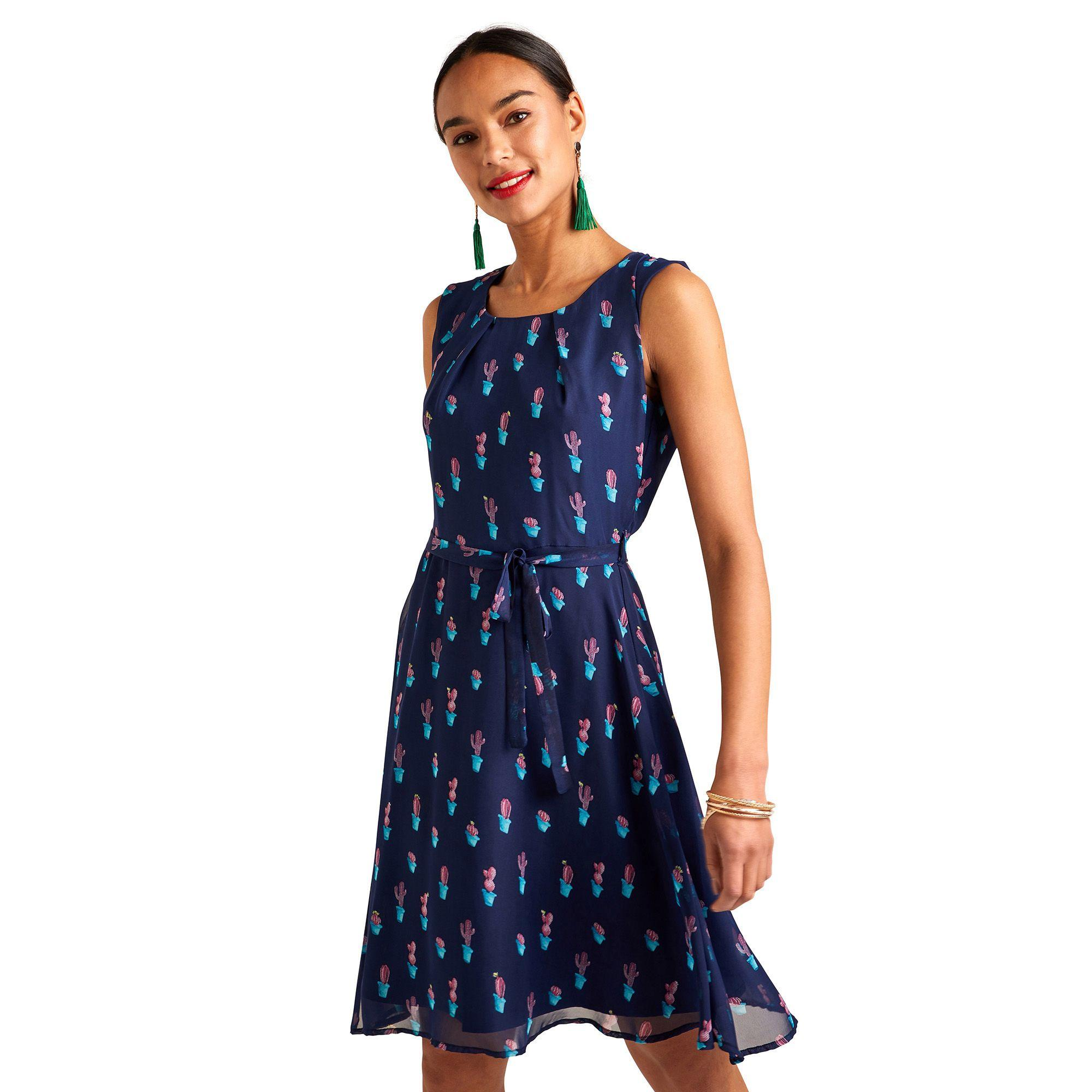2629e9676756 Yumi' Navy Cactus Print Skater Dress in Blue - Lyst