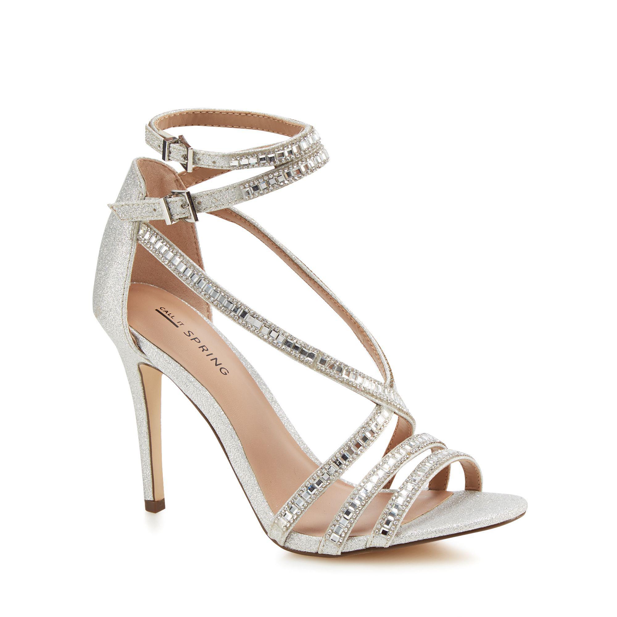 8aa83d2284e Call It Spring. Women s Metallic Silver Glitter  gaffigan  High Stiletto  Heel Ankle Strap Sandals