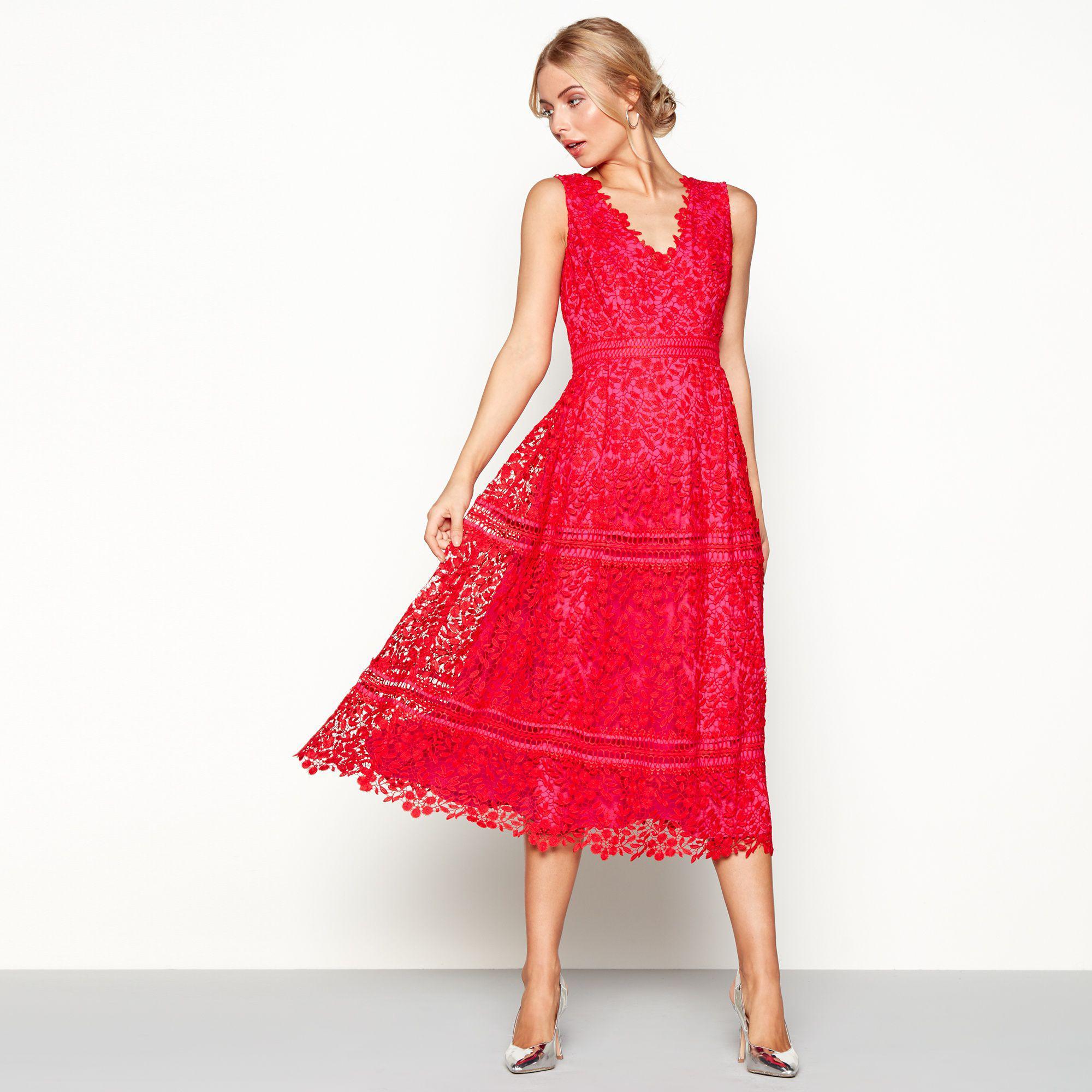 Début Red Lace \'laila\' V-neck Midi Length Plus Size Prom Dress in ...