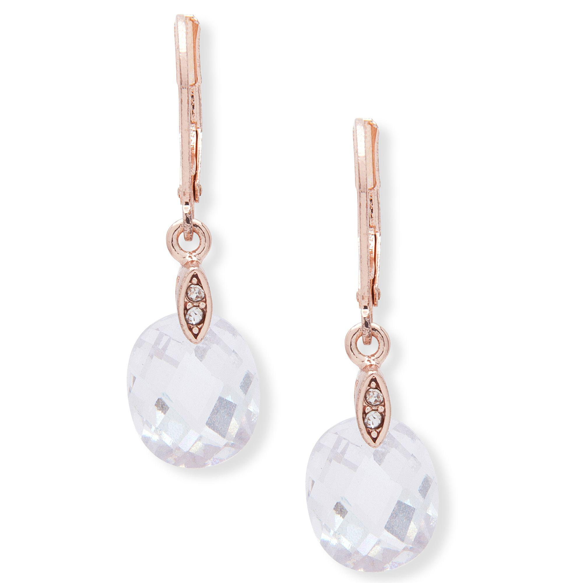 Anne Klein Rose Gold social Faceted Cubic Zarconia Drop Earrings