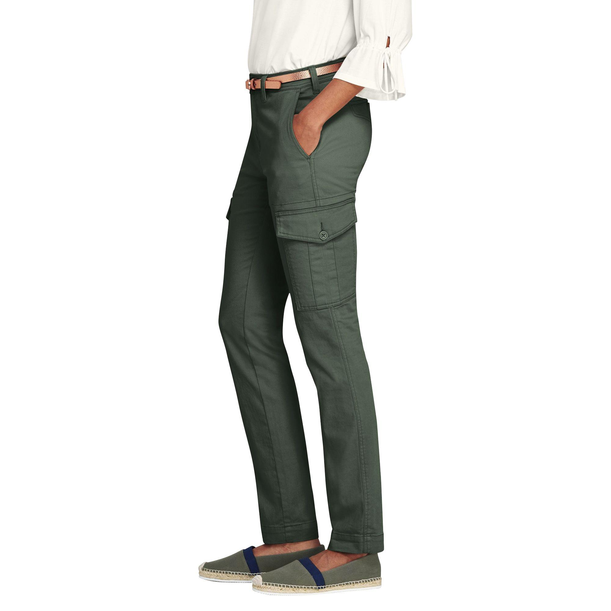 ce7207e7e4c Lands  End - Green Womens Slim Cargo Trousers - Lyst. View fullscreen