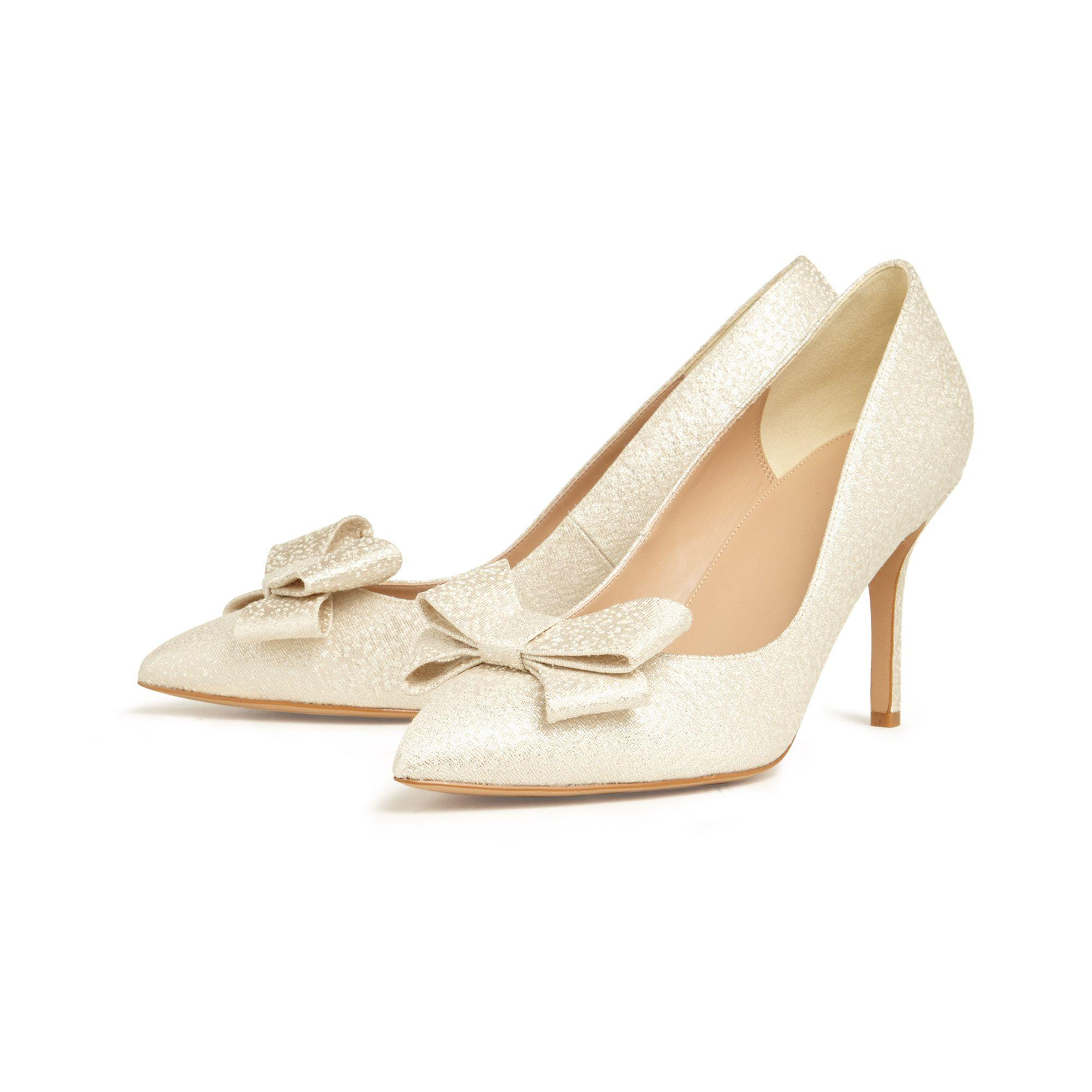 df1551325f1 Women's Natural Ariel Metallic Bow Pointed Court Shoes