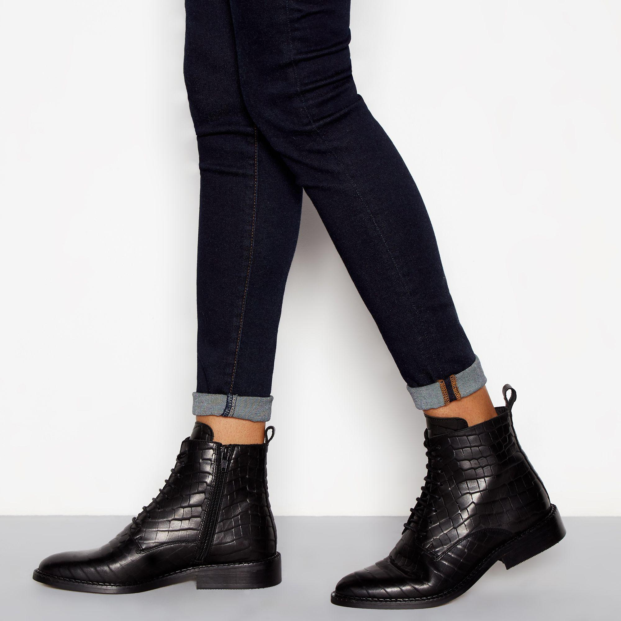 8f47bb15577 J By Jasper Conran Black Leather Croc-effect Lace Up Boots in Black ...