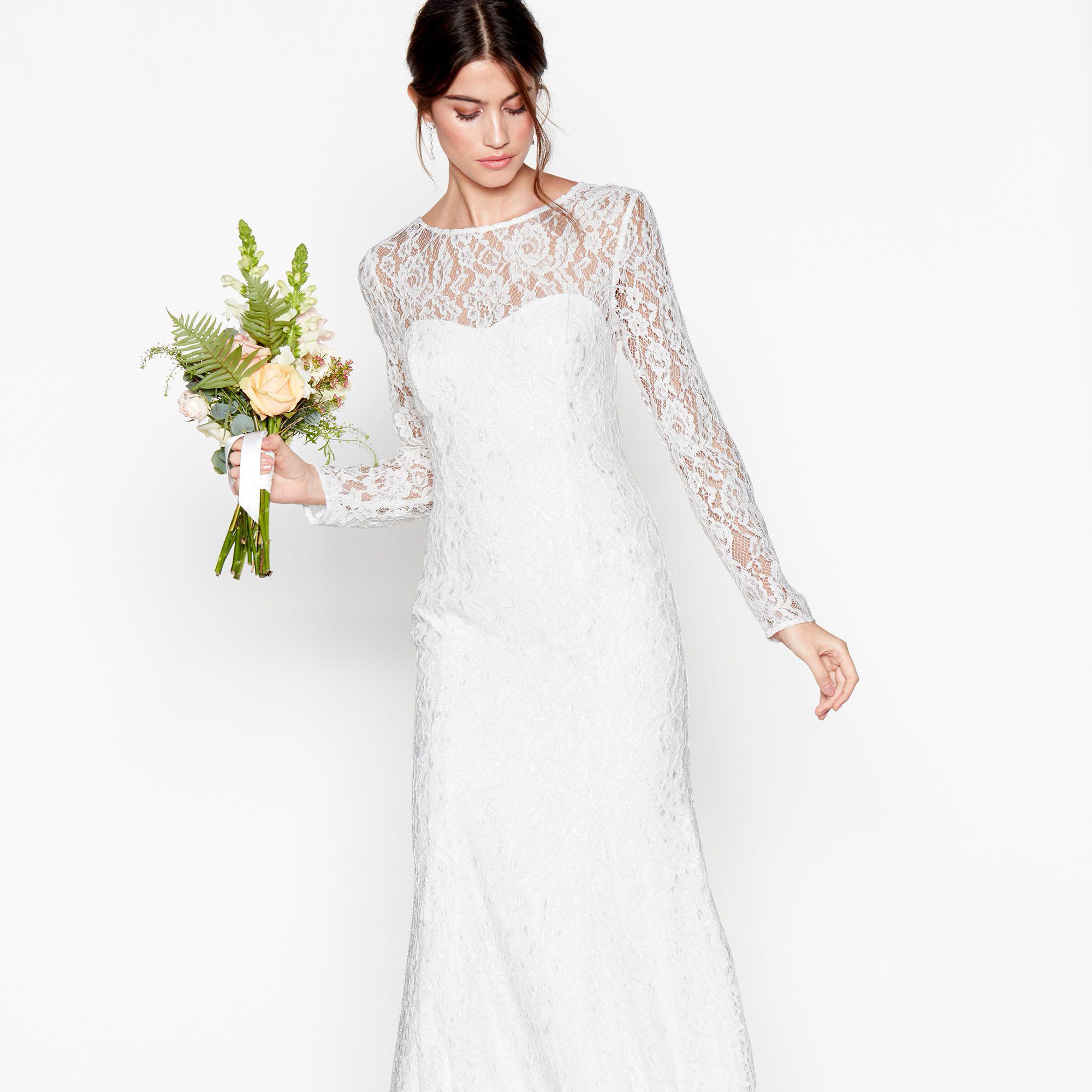 Ivory Lace Eleanor High Neck Long Sleeves Full Length Wedding Dress View Fullscreen