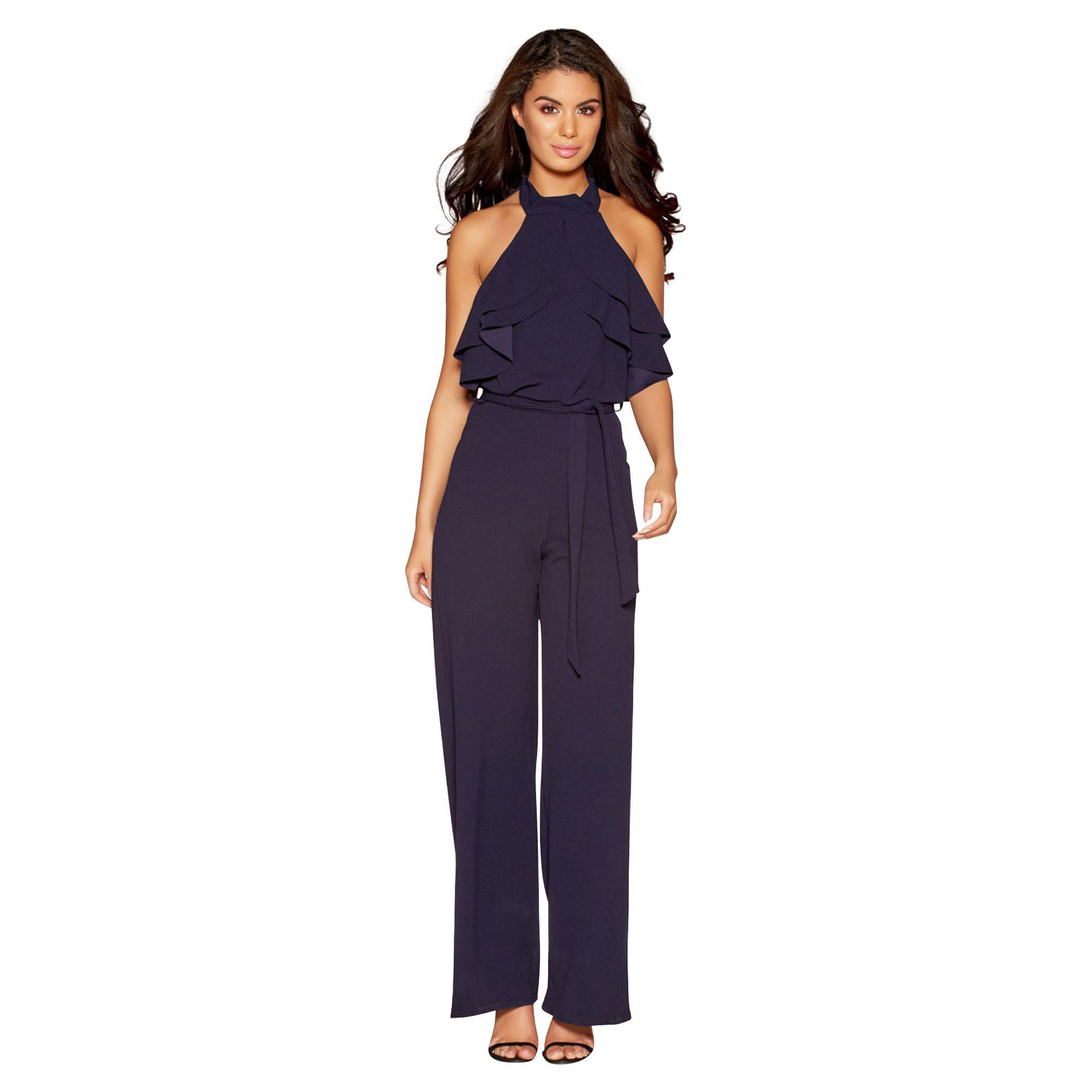 custom select for latest world-wide renown Quiz Blue Navy Halterneck Crepe Frill Jumpsuit