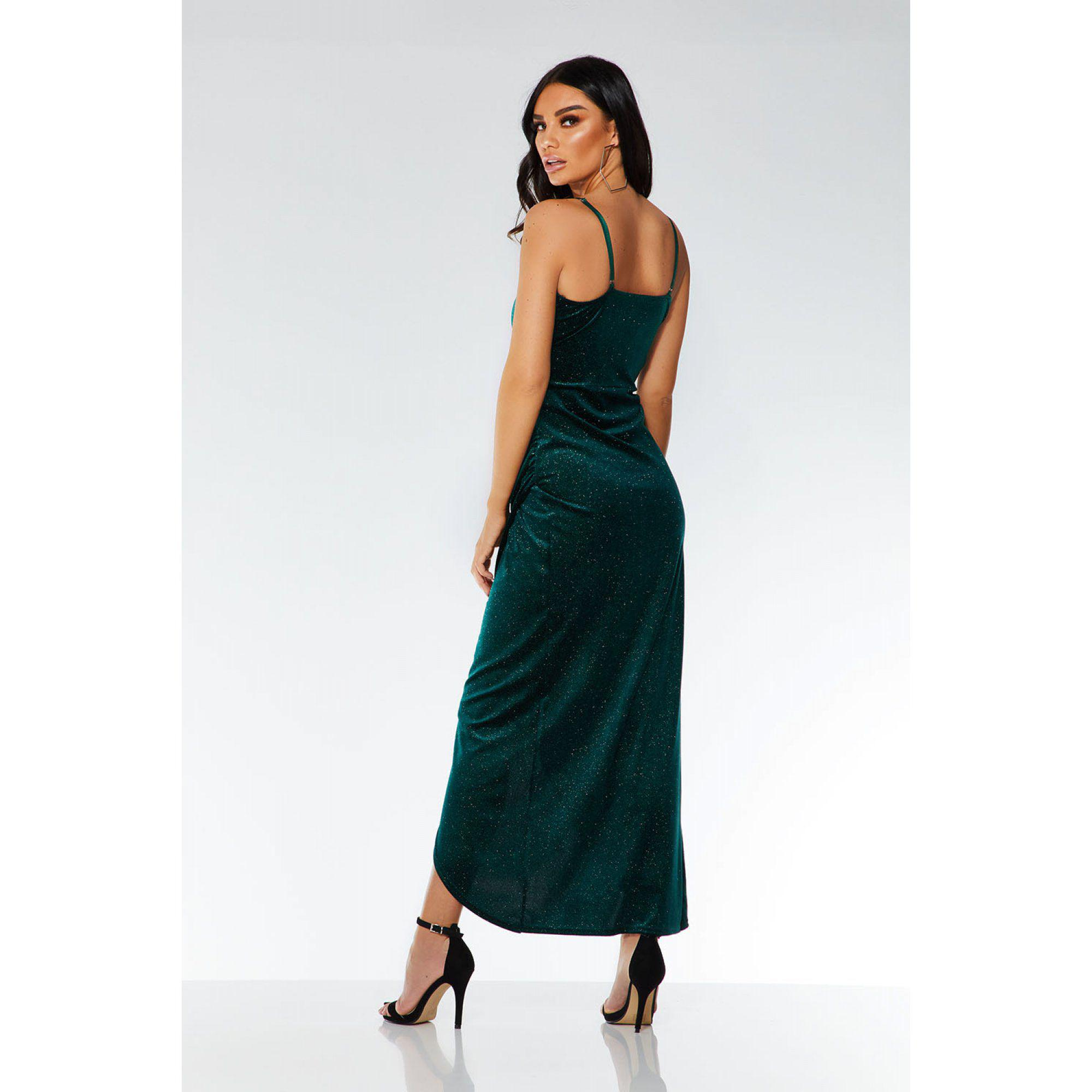 7279f5853a2 Quiz Bottle Green Glitter Velvet Wrap Dress in Green - Lyst