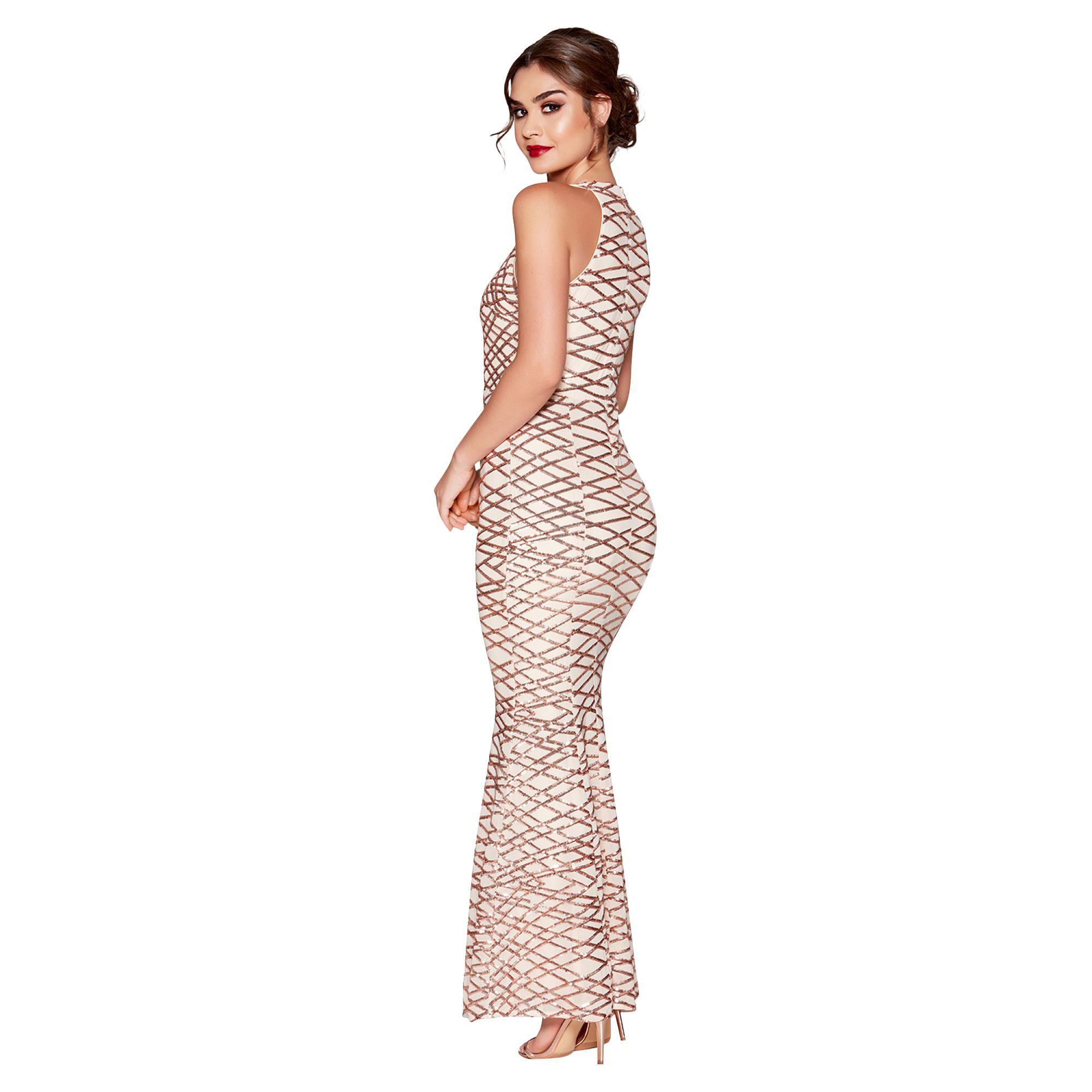 ff0712a8ff04d Quiz Rose Gold Sequin And Mesh Fishtail Maxi Dress in Metallic - Lyst