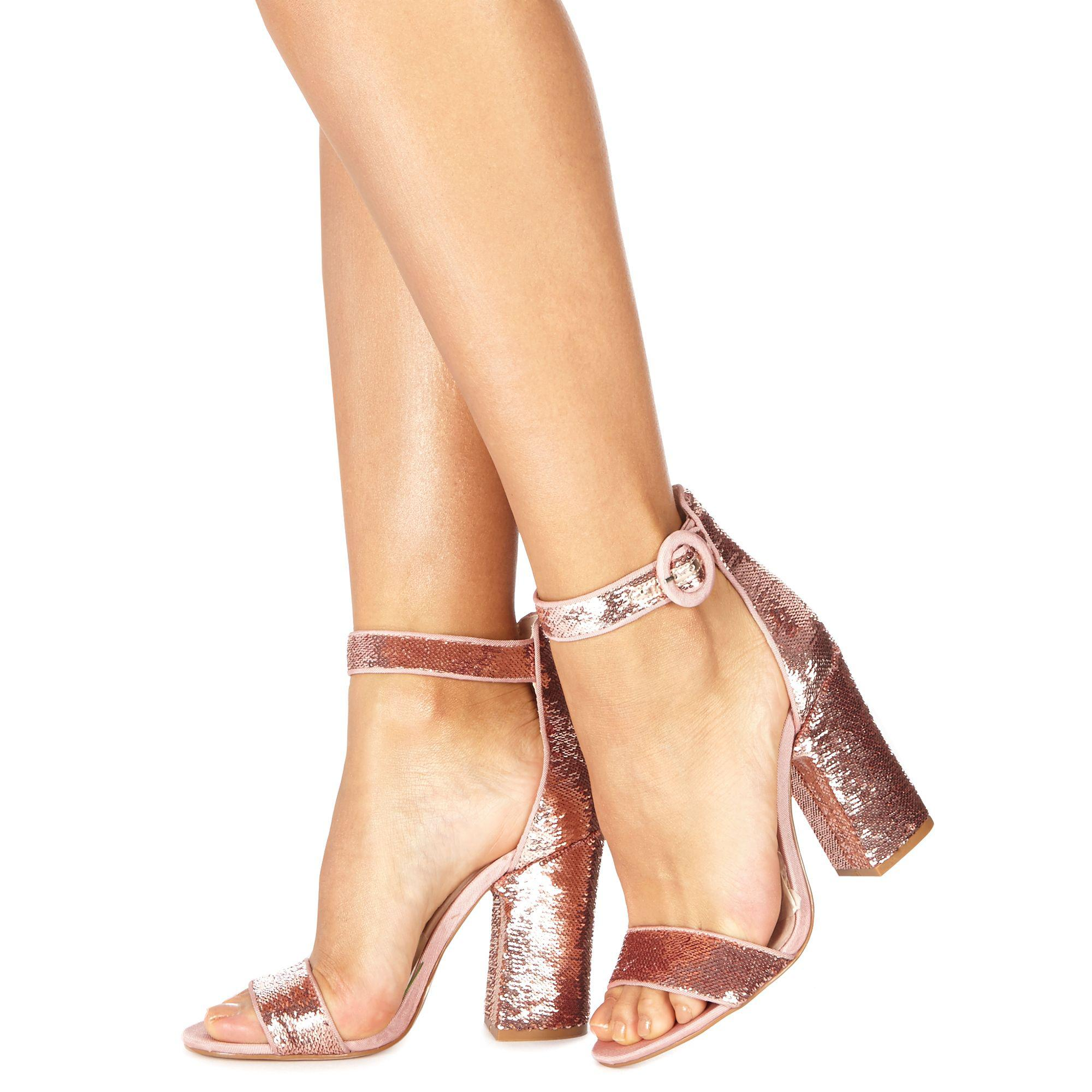 4224e587718 Faith Pink  danielle  High Block Heel Ankle Strap Sandals in Pink - Lyst