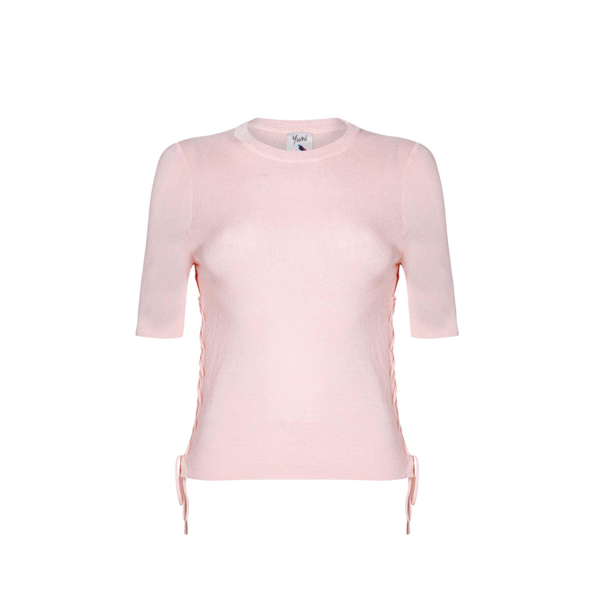 fe1f369c72 Yumi  - Pink Mid Rose Ribbed Tie Up Jumper - Lyst. View fullscreen
