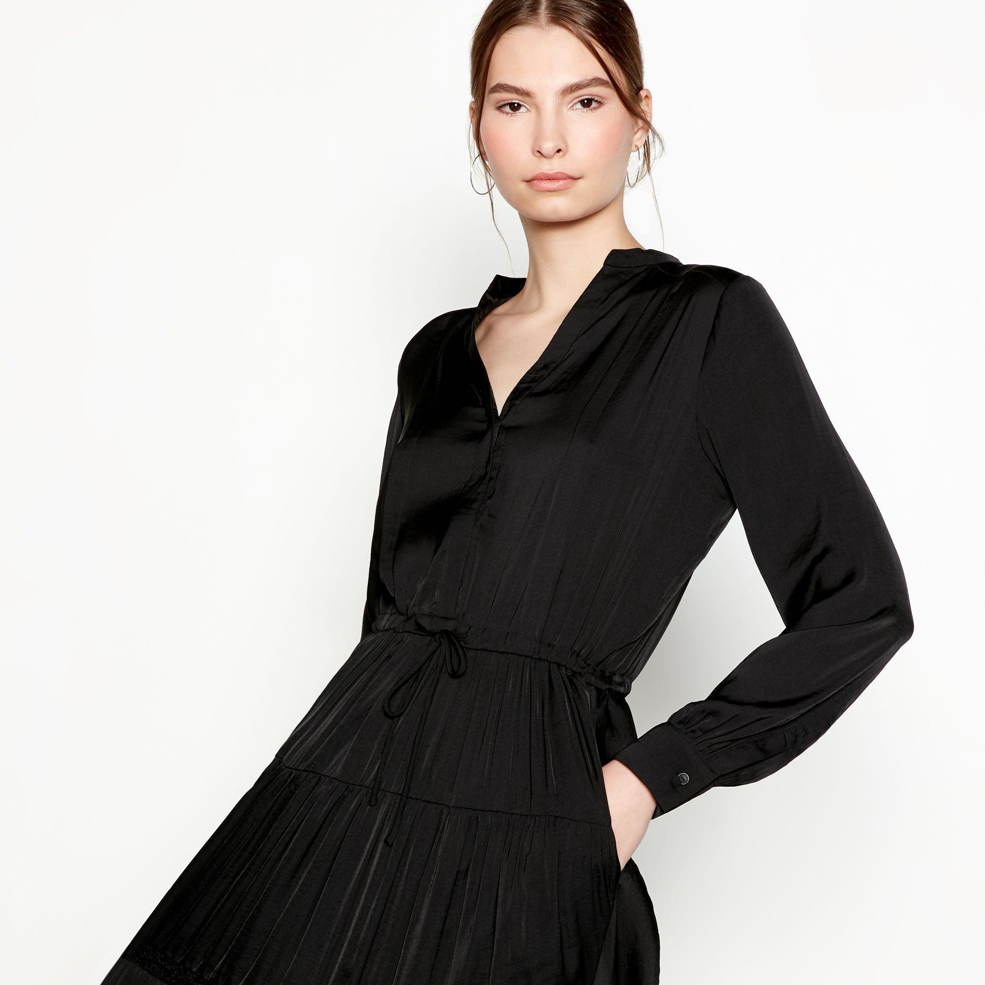 Six Ames Black Satin 'sofia' V-neck Long Sleeve Full Length Fit And Flare Dress