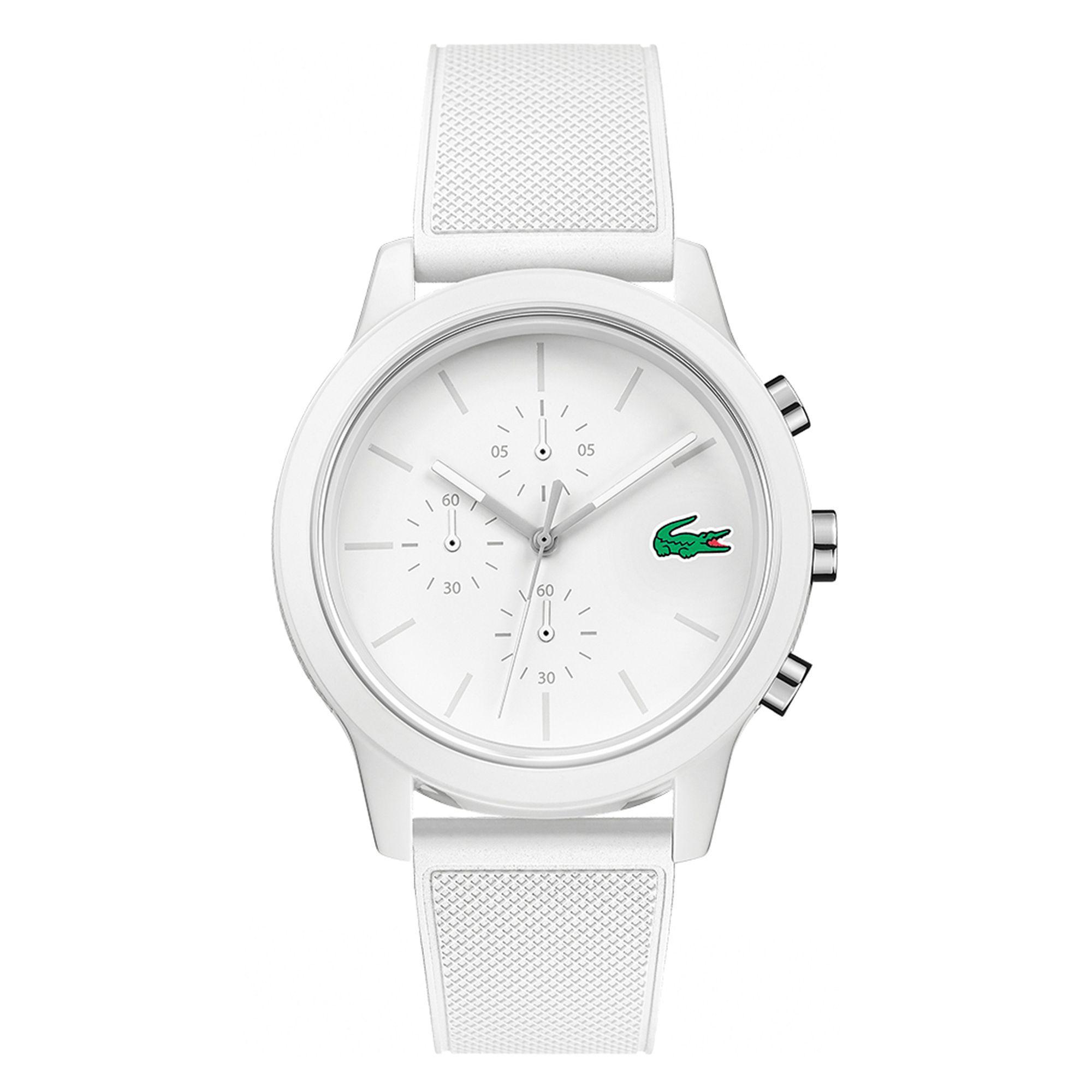 Lacoste. Men's White Chronograph Silicone Strap Watch