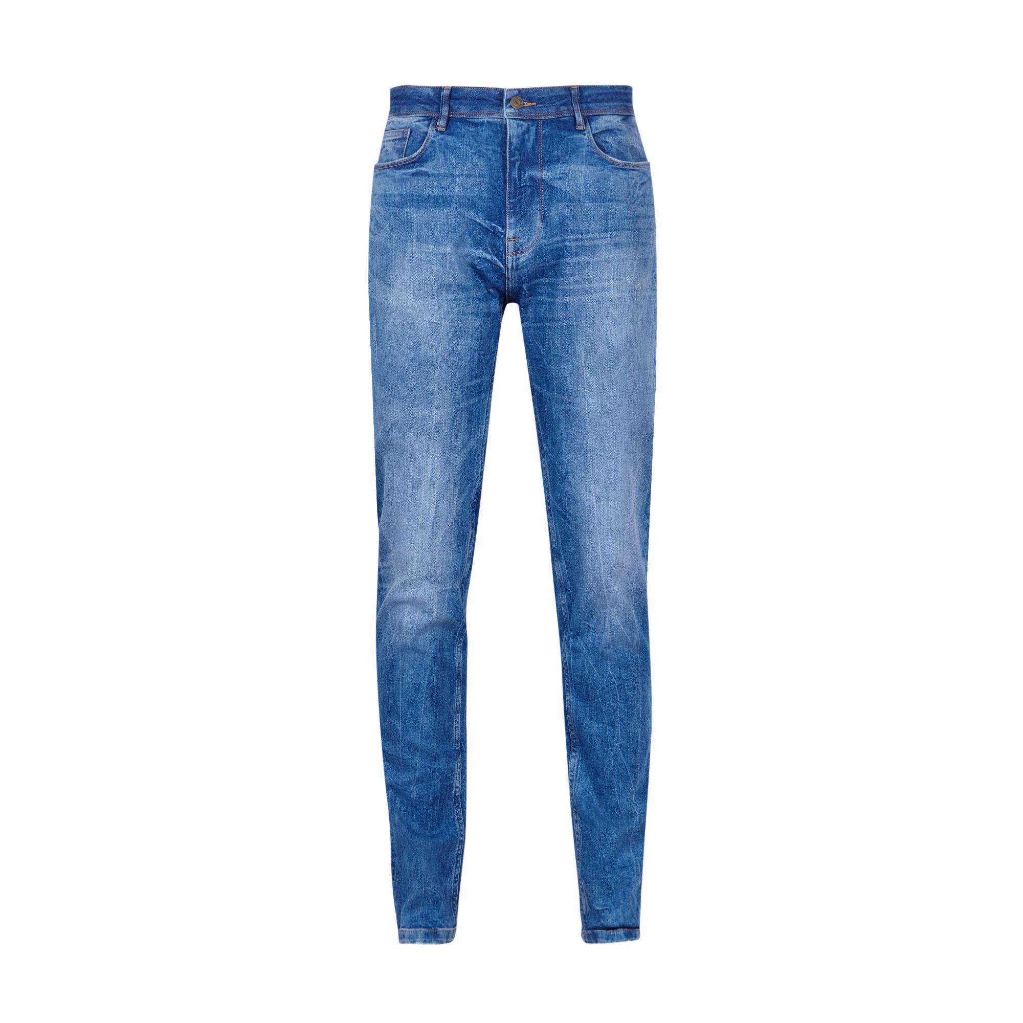 Burton Denim Hyper Blue Tapered Fit Jeans for Men