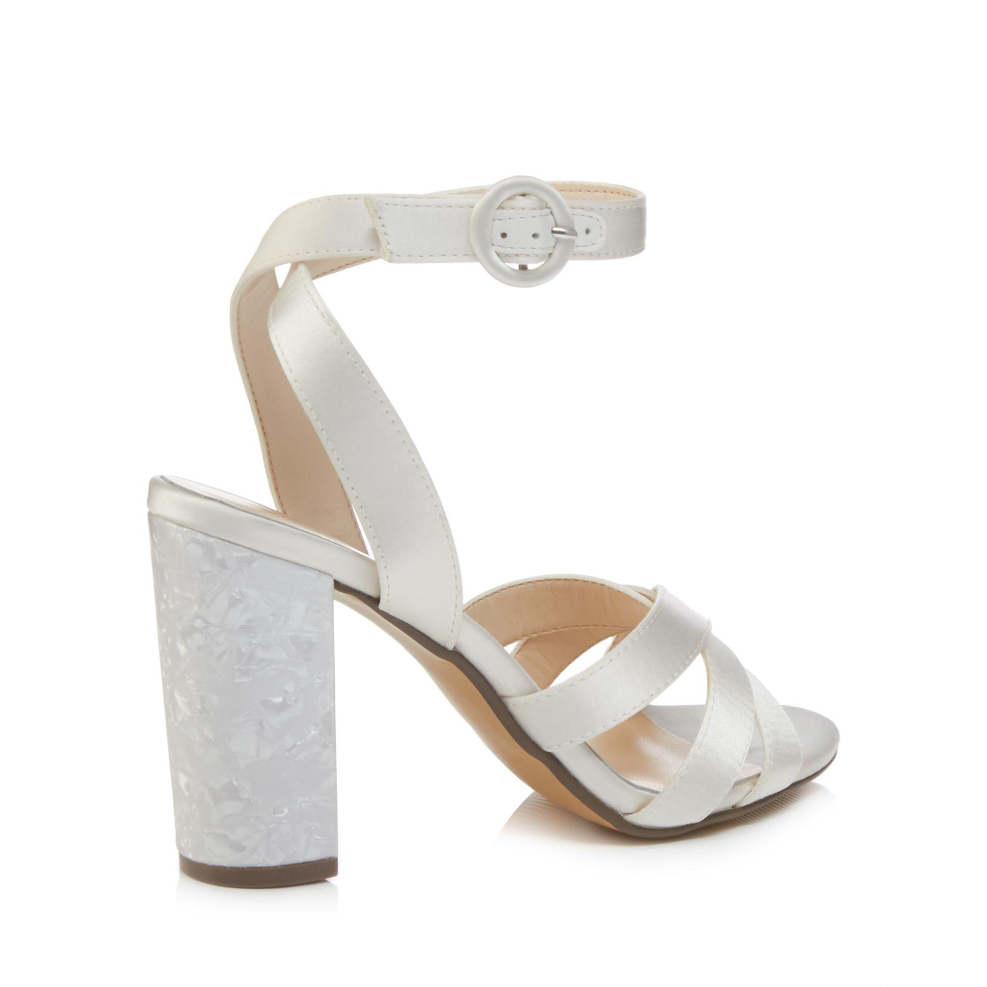 49c846099f6 Jenny Packham - White Ivory Satin  pearl  High Block Heel Ankle Strap  Sandals -. View fullscreen