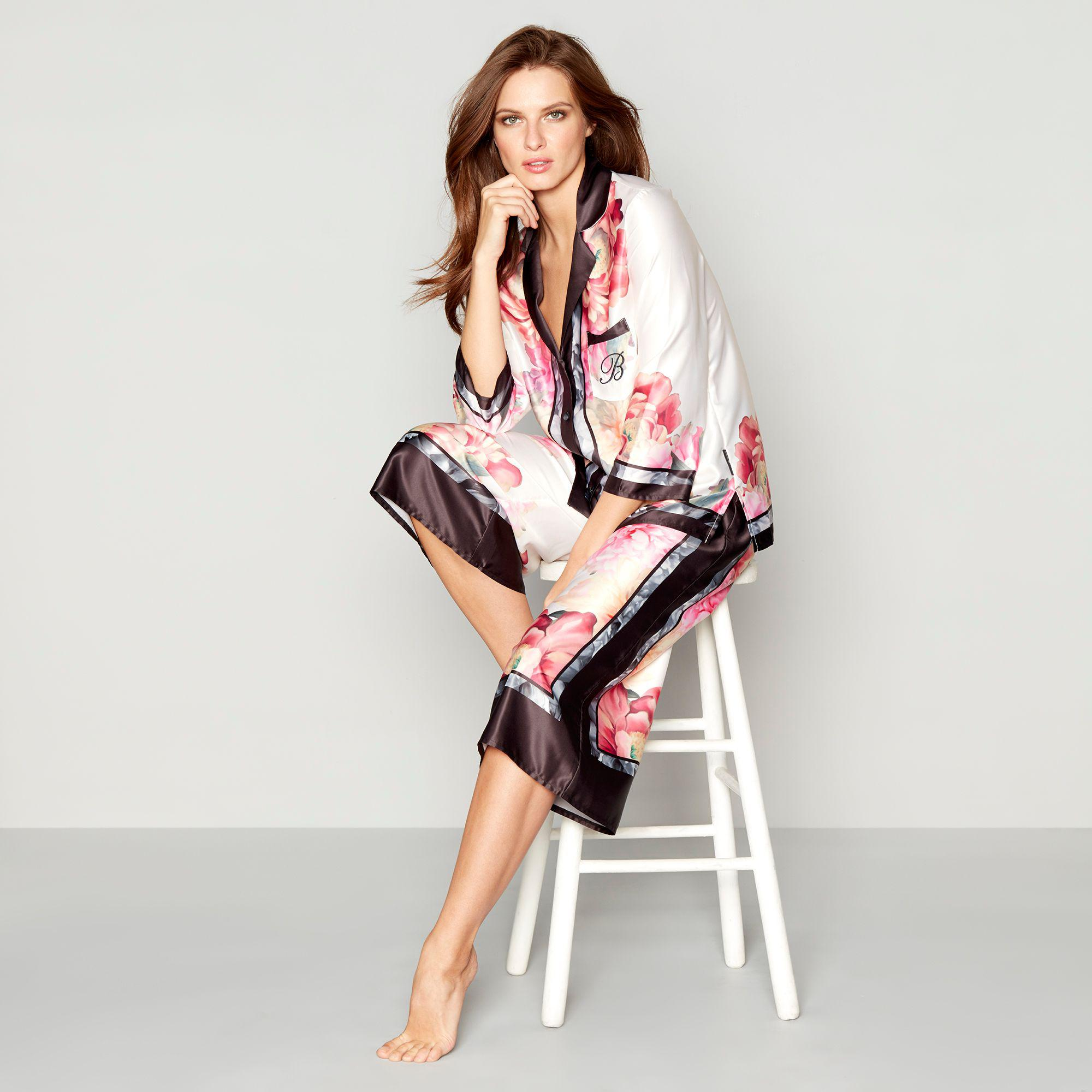 Ted Baker. Women s Light Pink Floral Print Satin  painted Posey  Long  Sleeve Pyjama Set d73e83699