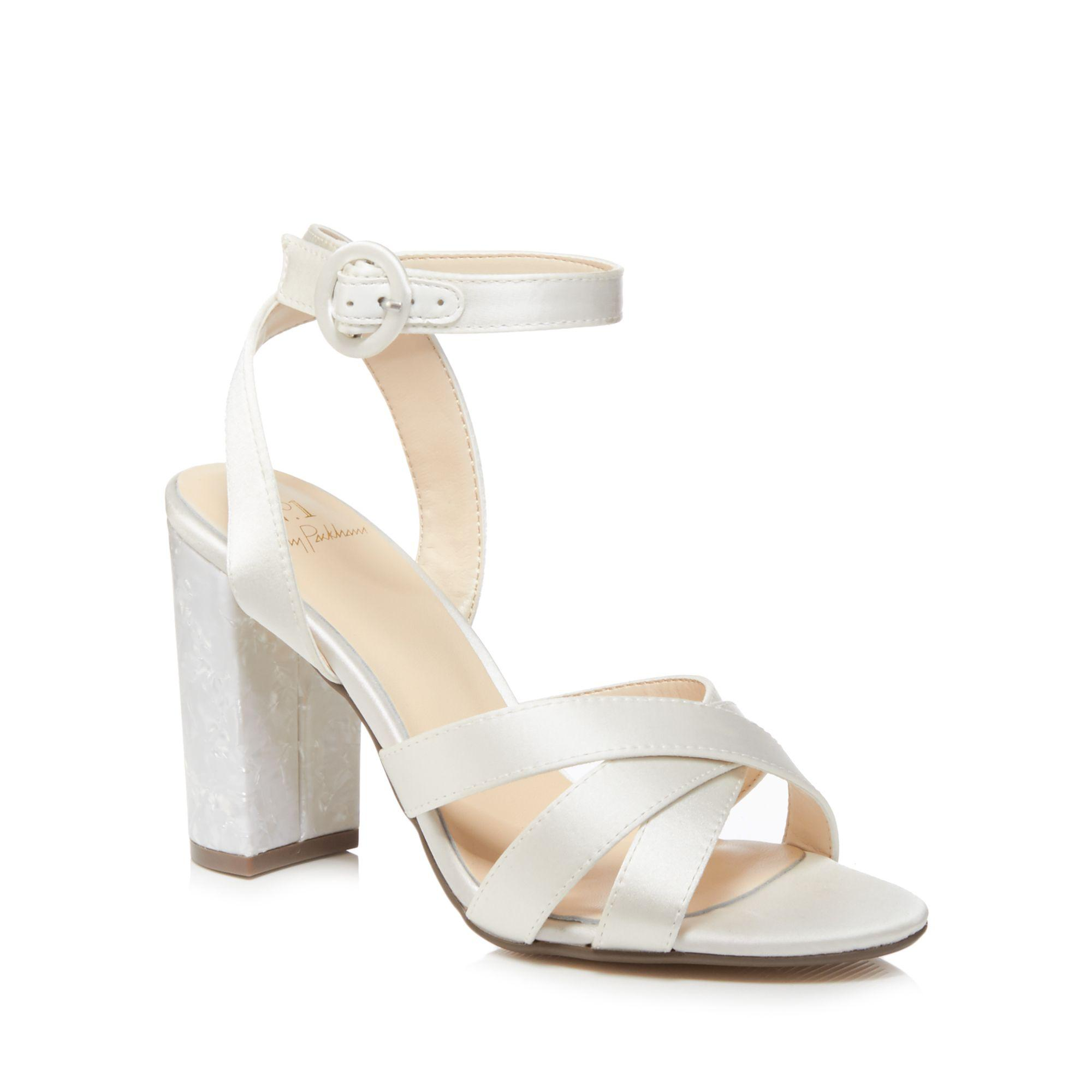 83492bb487f Jenny Packham. Women s White Ivory Satin  pearl  High Block Heel Ankle  Strap Sandals