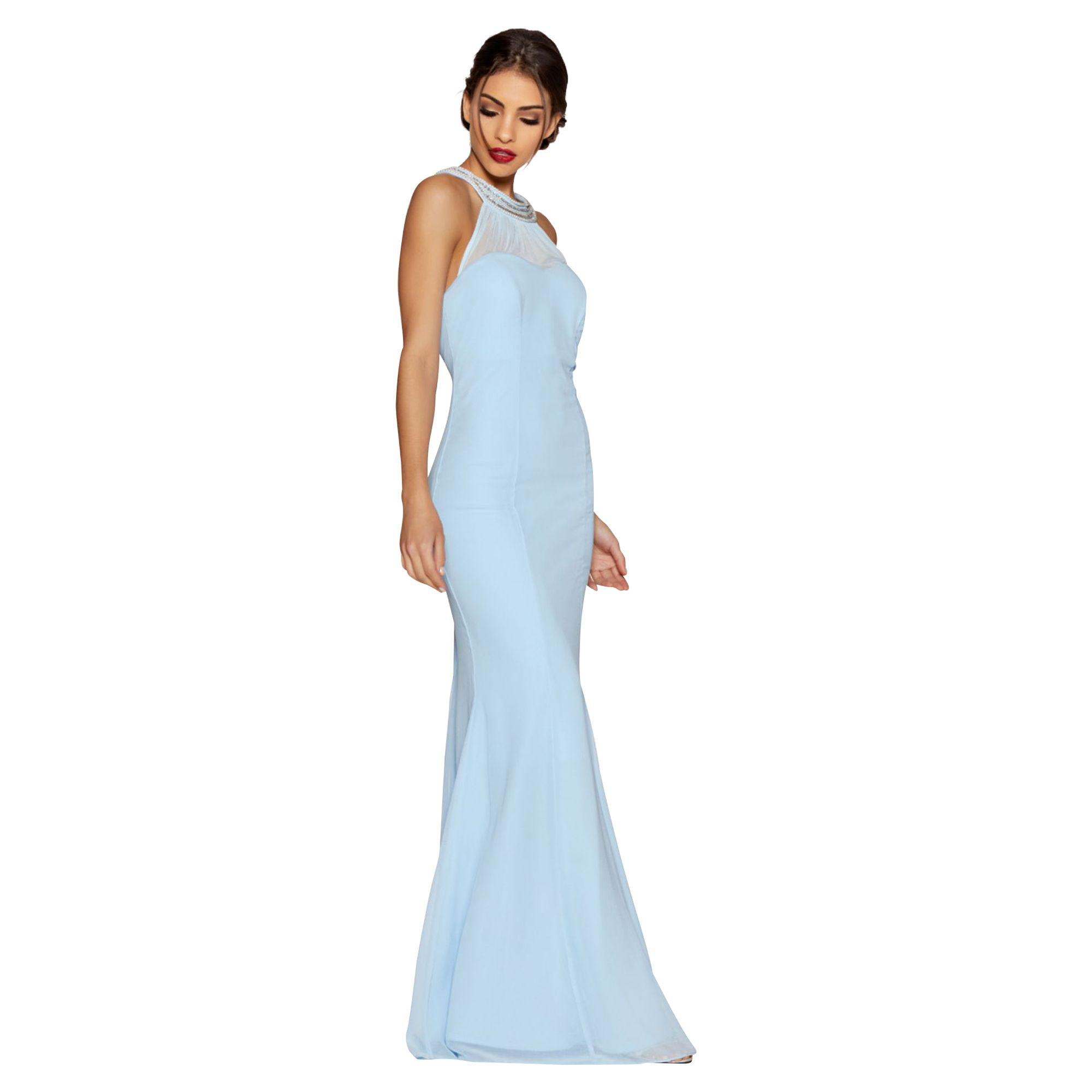 Quiz Powder Blue Chiffon Sweetheart Neck Maxi Dress