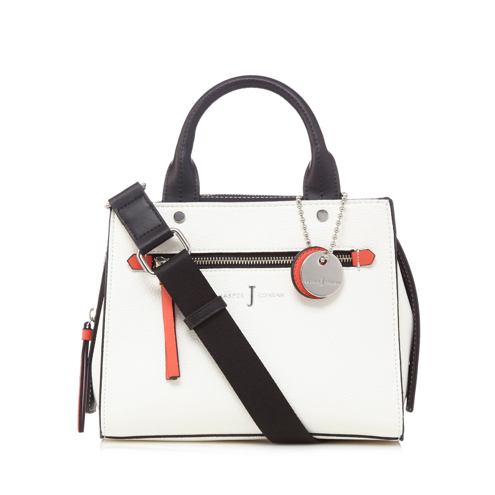 White Colour Block Small Grab Bag
