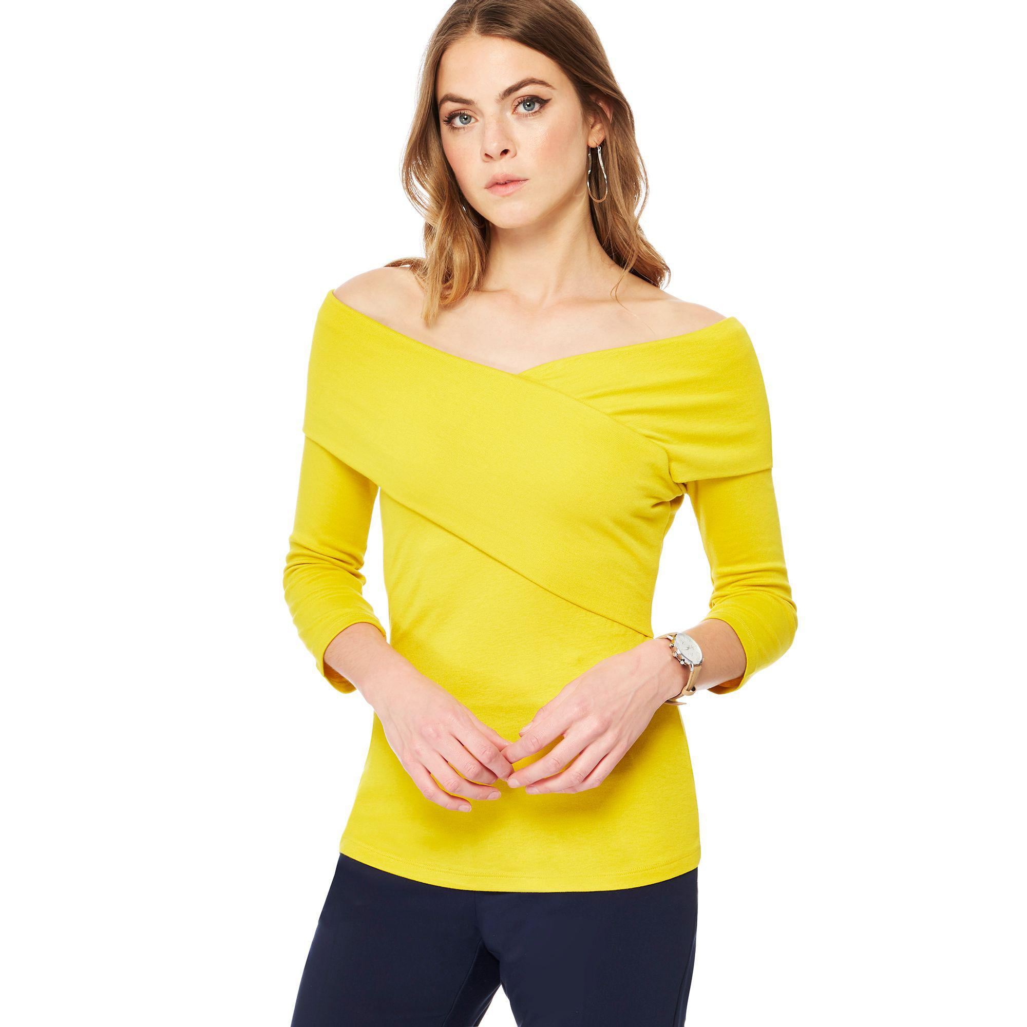 c57d46993cfa1 J By Jasper Conran Bright Yellow Jersey Bardot Neck Top in Yellow - Lyst