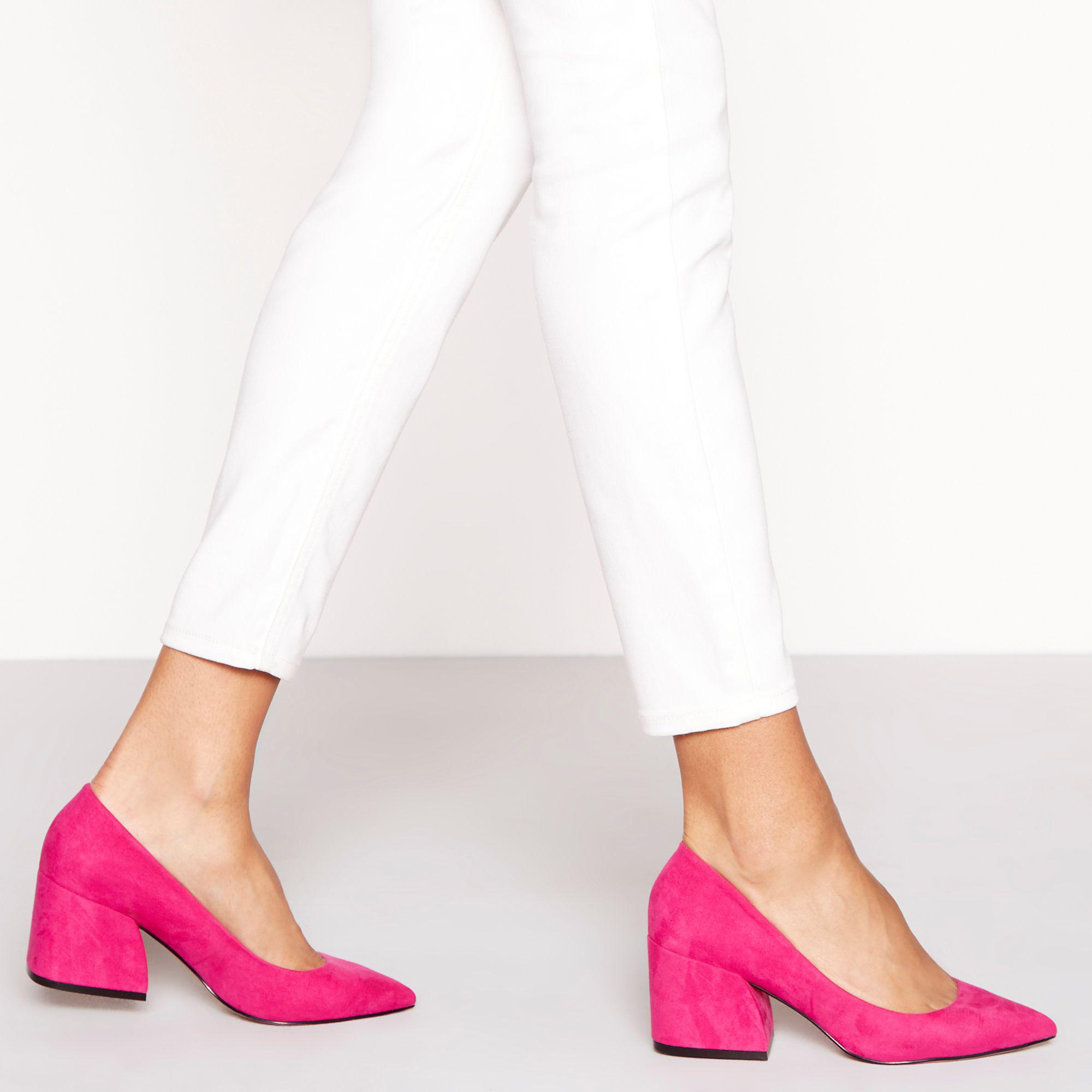 best selling quality newest Pink Suedette 'chase' Mid Block Heel Court Shoes