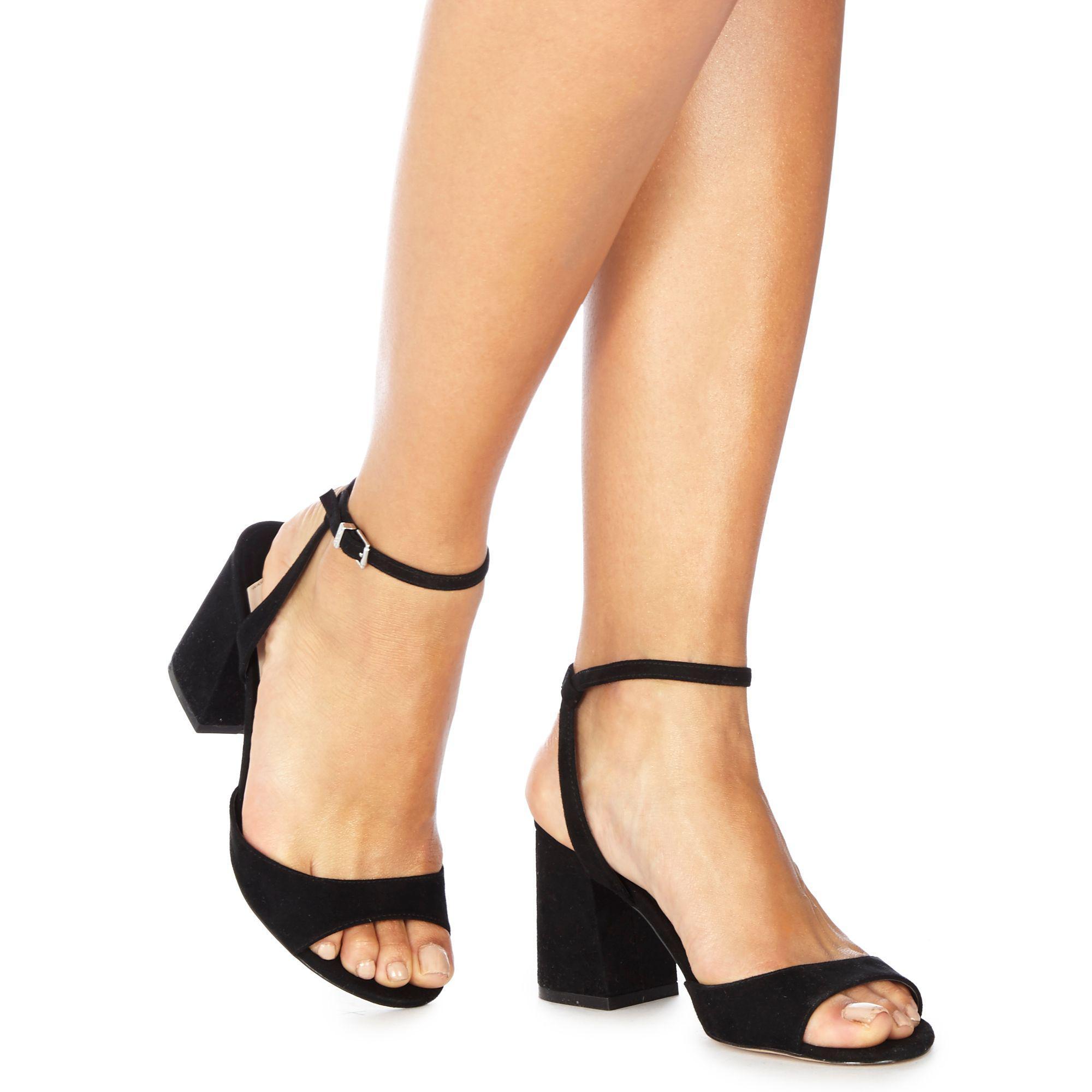 7d65ca2c3db Faith Black Suedette 'danicar' Mid Block Heel Ankle Strap Sandals - Lyst