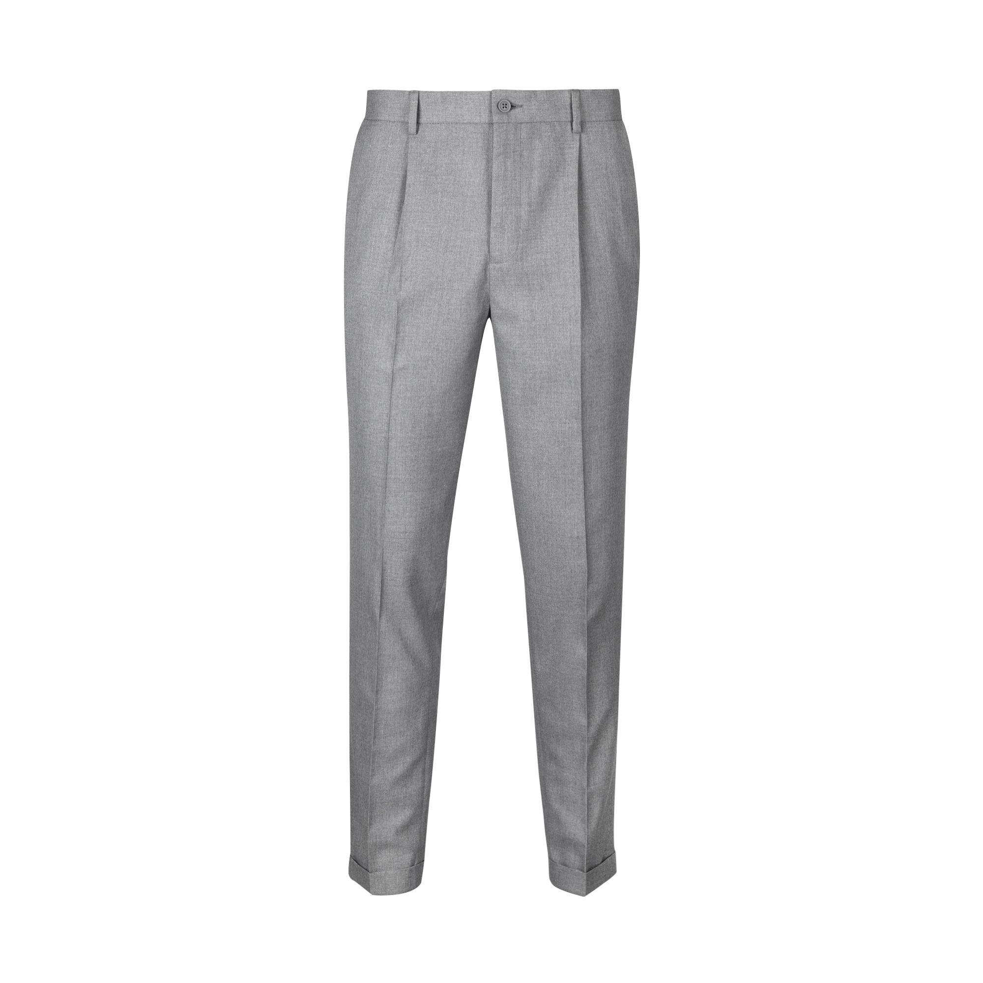 Burton Grey Tapered Fit Pleat Side Zip Trousers in Grey for Men